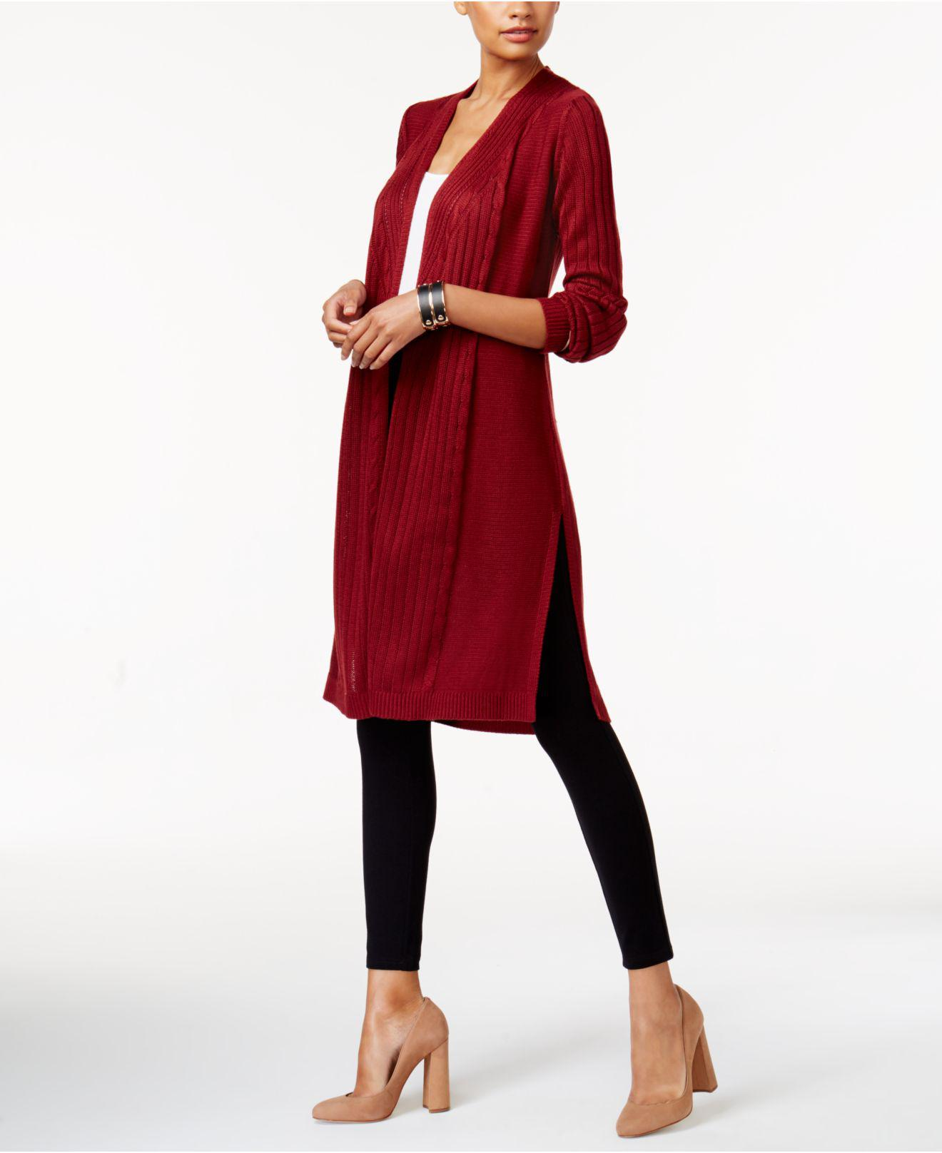 Love scarlett Cable-knit Duster Cardigan in Red | Lyst