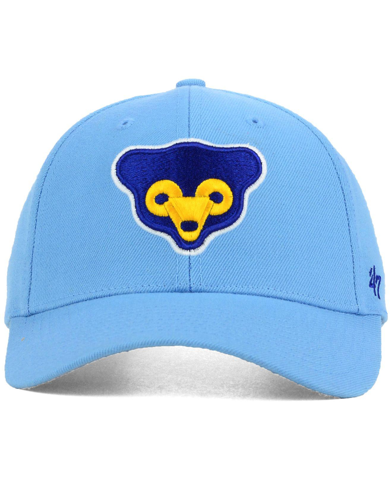 56701251cb2 ... where can i buy lyst 47 brand chicago cubs mvp curved cap in blue for  men