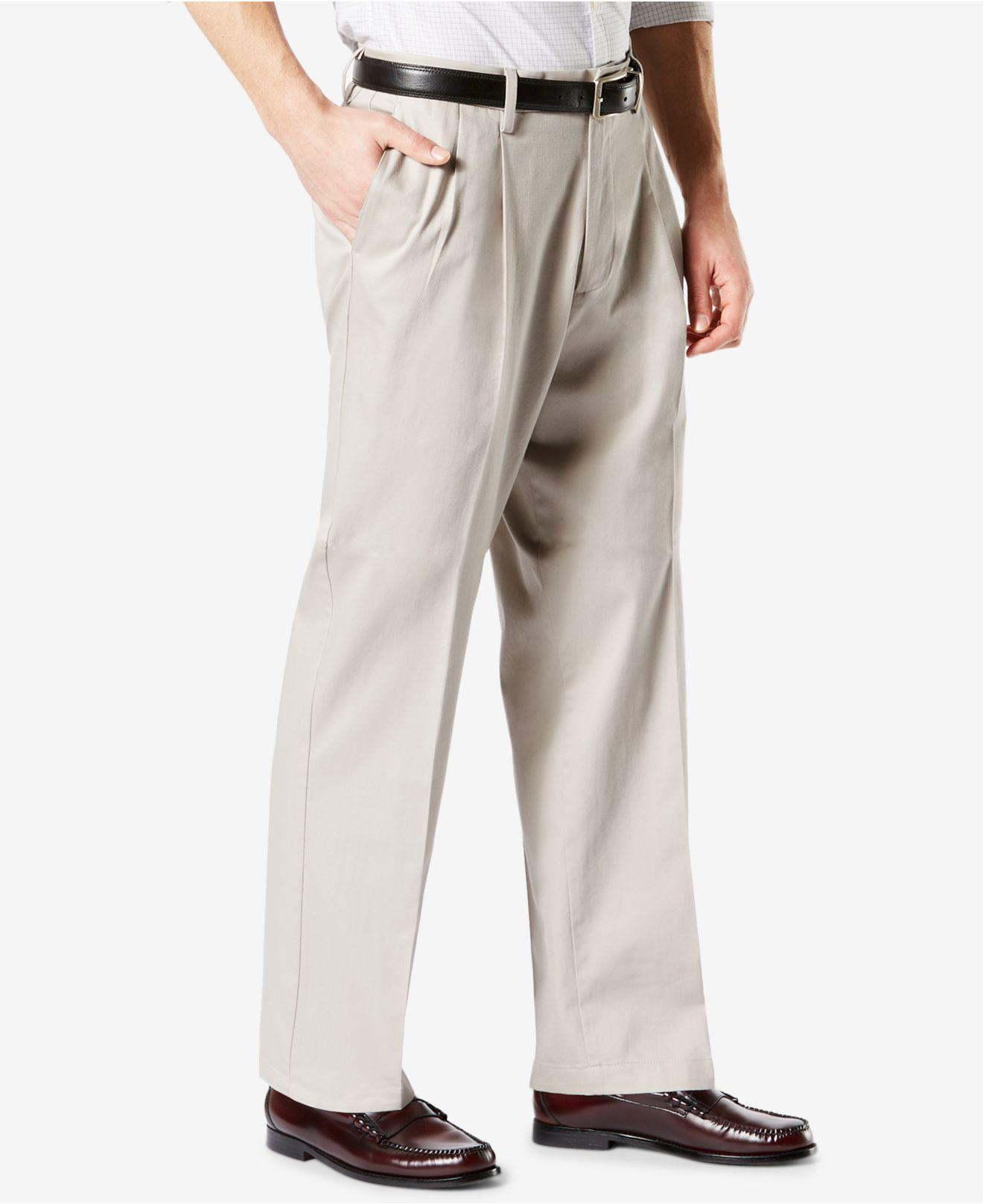5dfe72b991f Lyst - Dockers ® Signature Lux Cotton Relaxed Fit Pleated Khaki Stretch  Pants D4 in Natural for Men