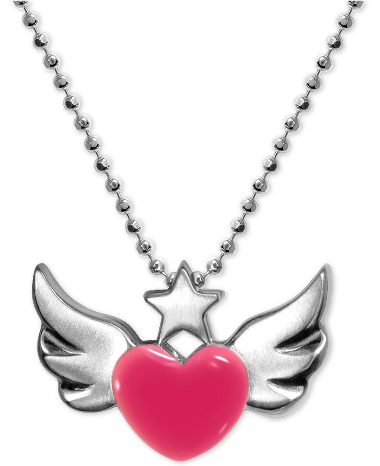 products winged pin crystal necklace imitation pink painted