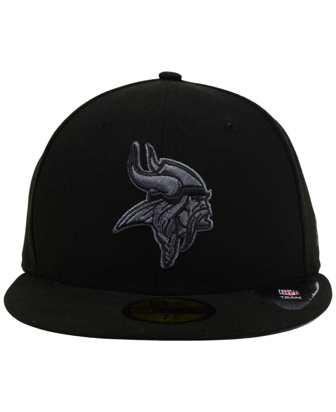 buy online 99c54 e5ff3 Lyst - KTZ Minnesota Vikings Black Gray 59fifty Cap in Black for Men