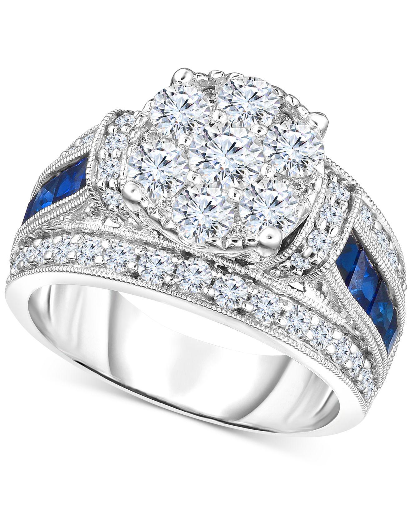 63ebaba24 Lyst - Macy's Trumiracletm Diamond (1-3/4 Ct. T.w.) & Sapphire (1 Ct ...