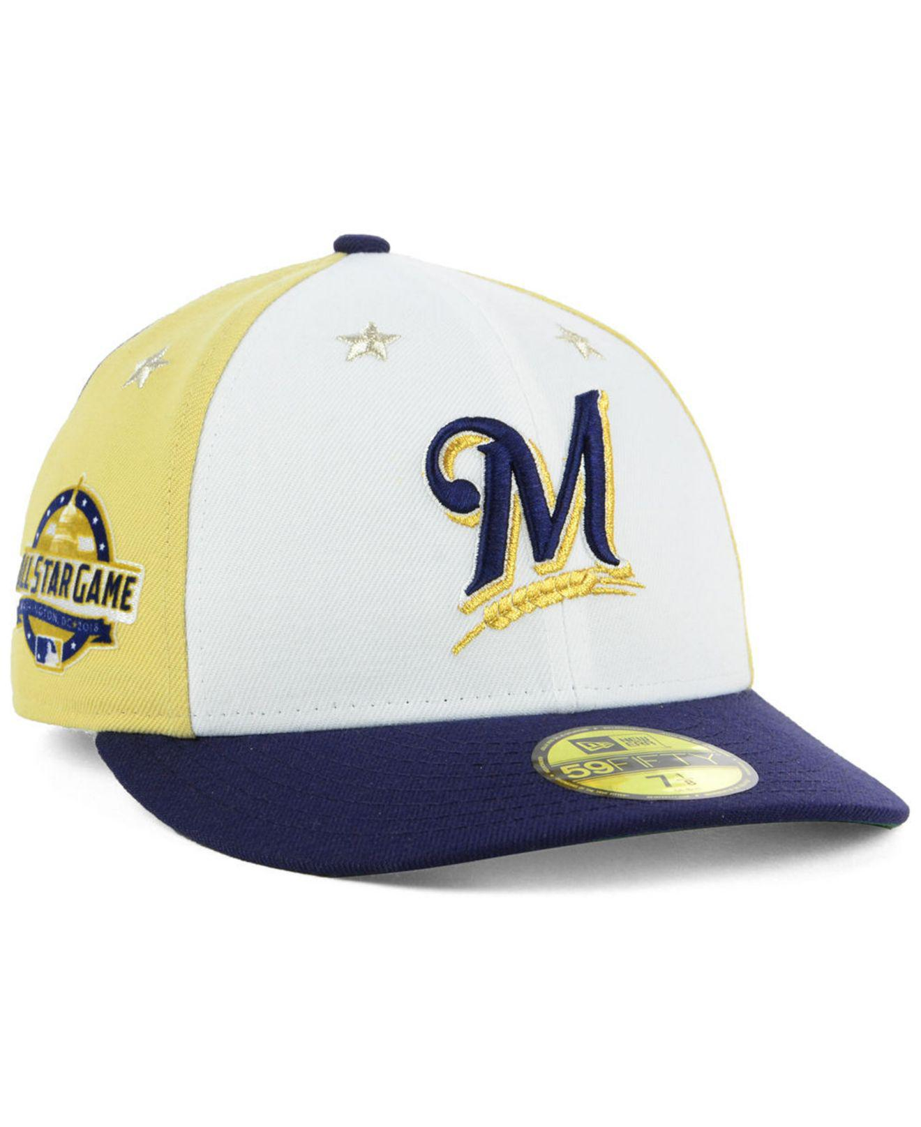 a442f2349981fe ... amazon ktz. mens blue milwaukee brewers all star game patch low profile  59fifty fitted cap