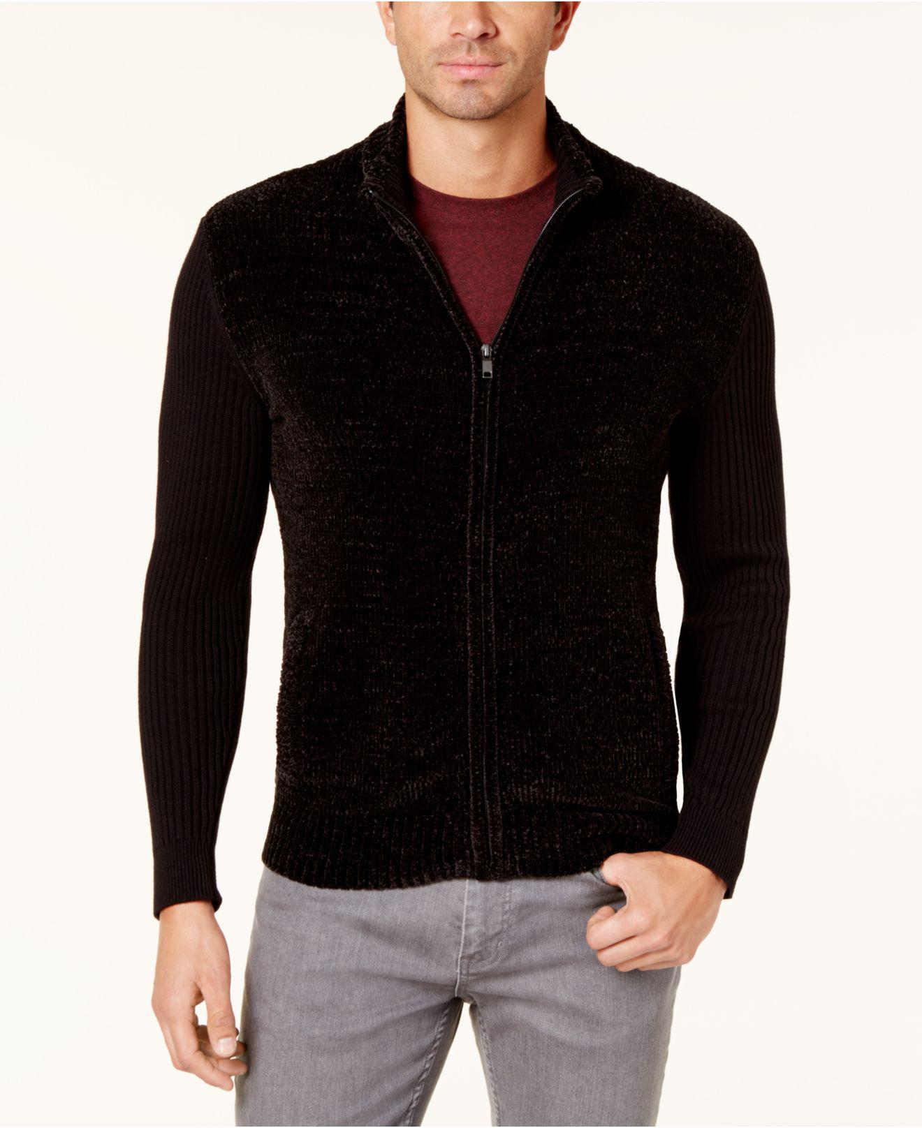 Alfani Men's Chenille Full-zip Cardigan Sweater in Black for Men ...