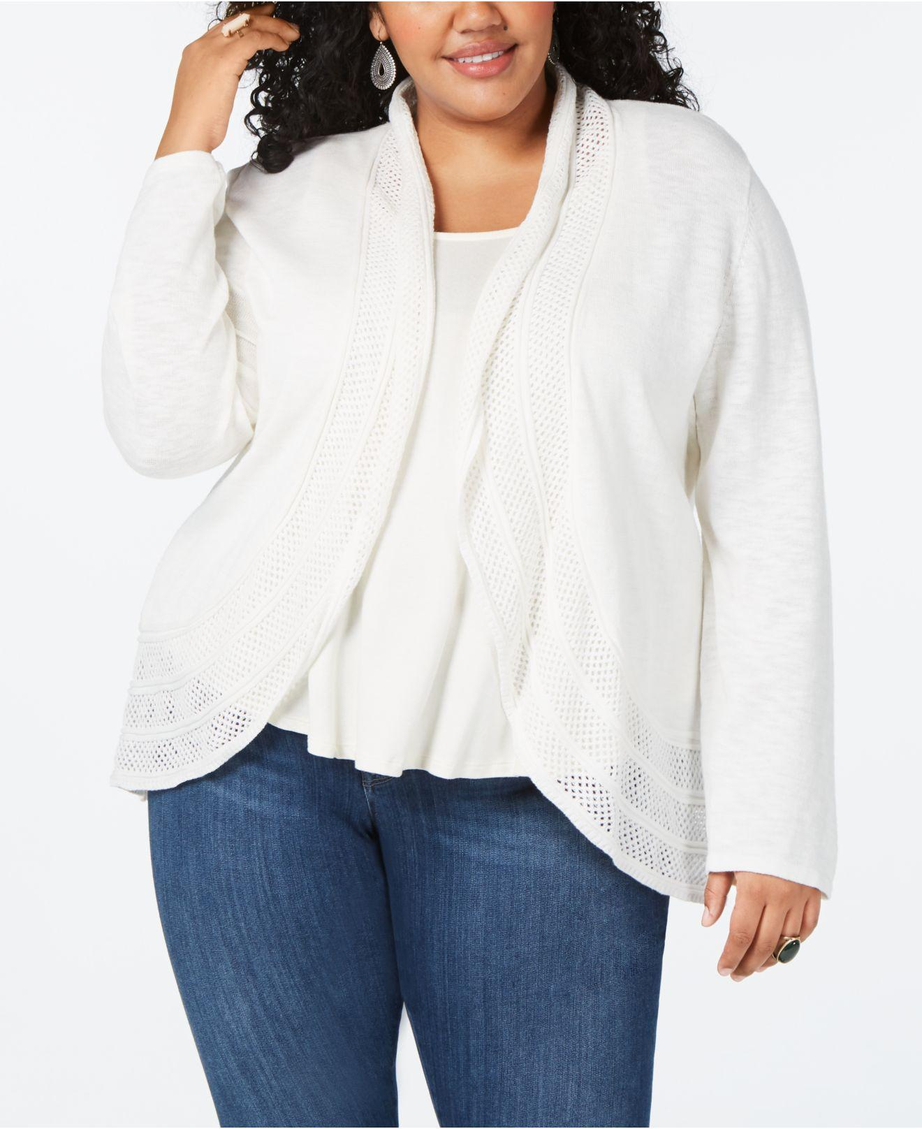 4eeda2599df5d9 Lyst - Style & Co. Plus Size Pointelle Cardigan, Created For Macy's ...