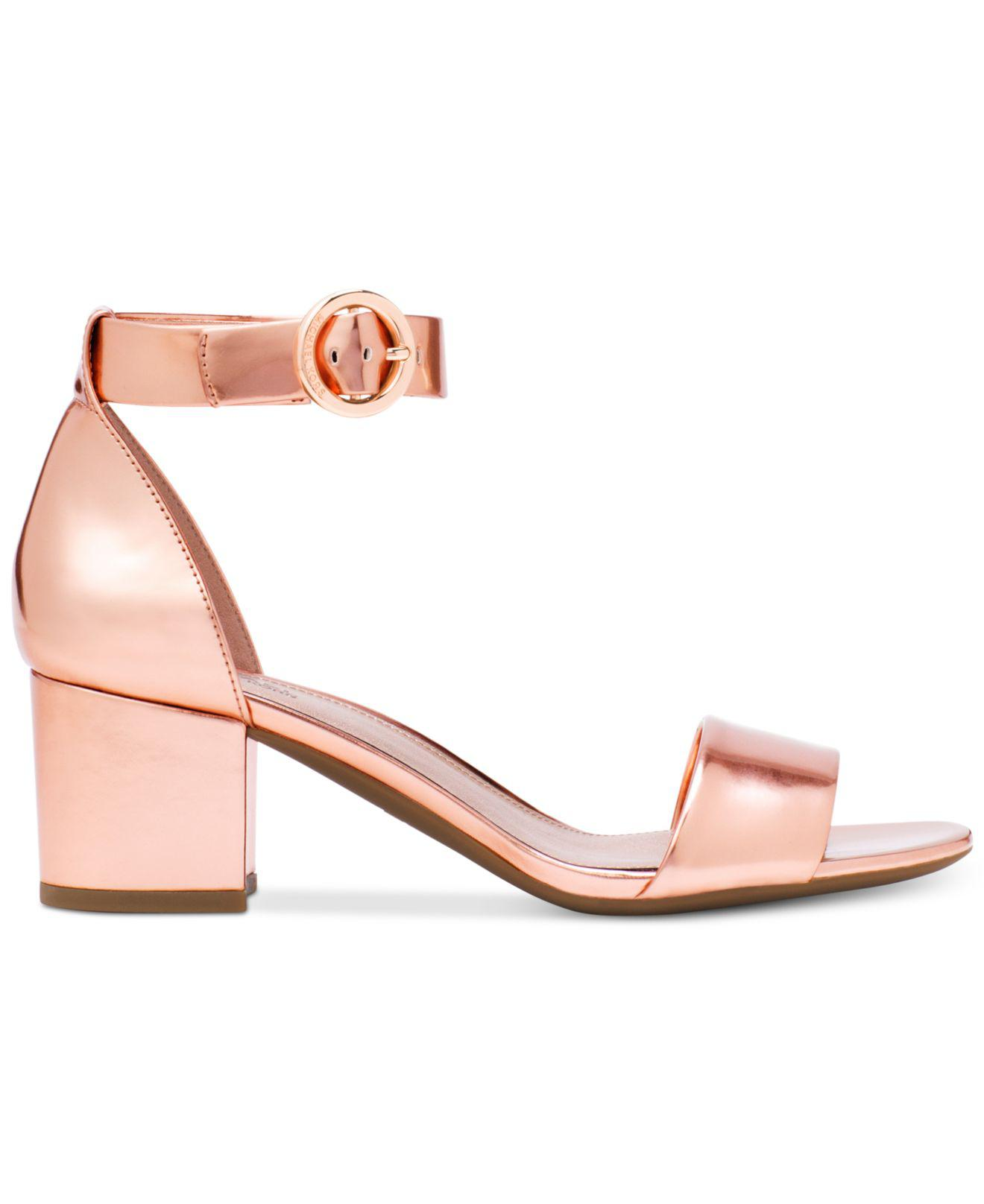 9f935465a36 Michael Kors Michael Lena Block Heel Dress Sandals in Pink - Lyst