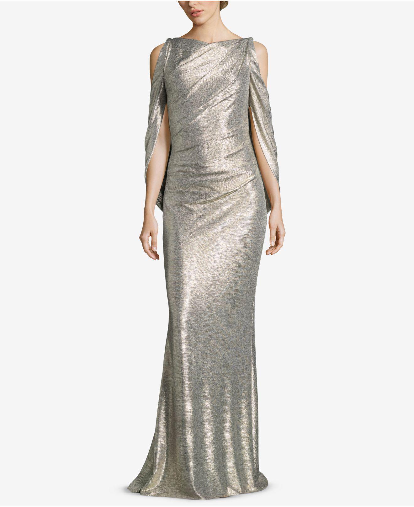 18dfd74e185 Lyst - Betsy   Adam Cold-shoulder Metallic Gown in Metallic