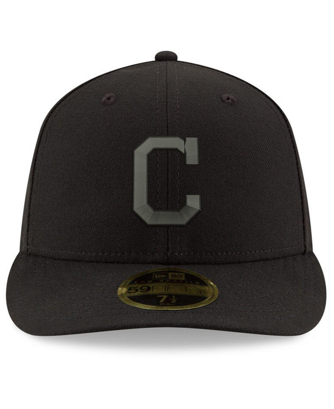best sneakers 2ba44 e8aff ... shop lyst ktz cleveland indians triple black low profile 59fifty fitted  cap in black for men