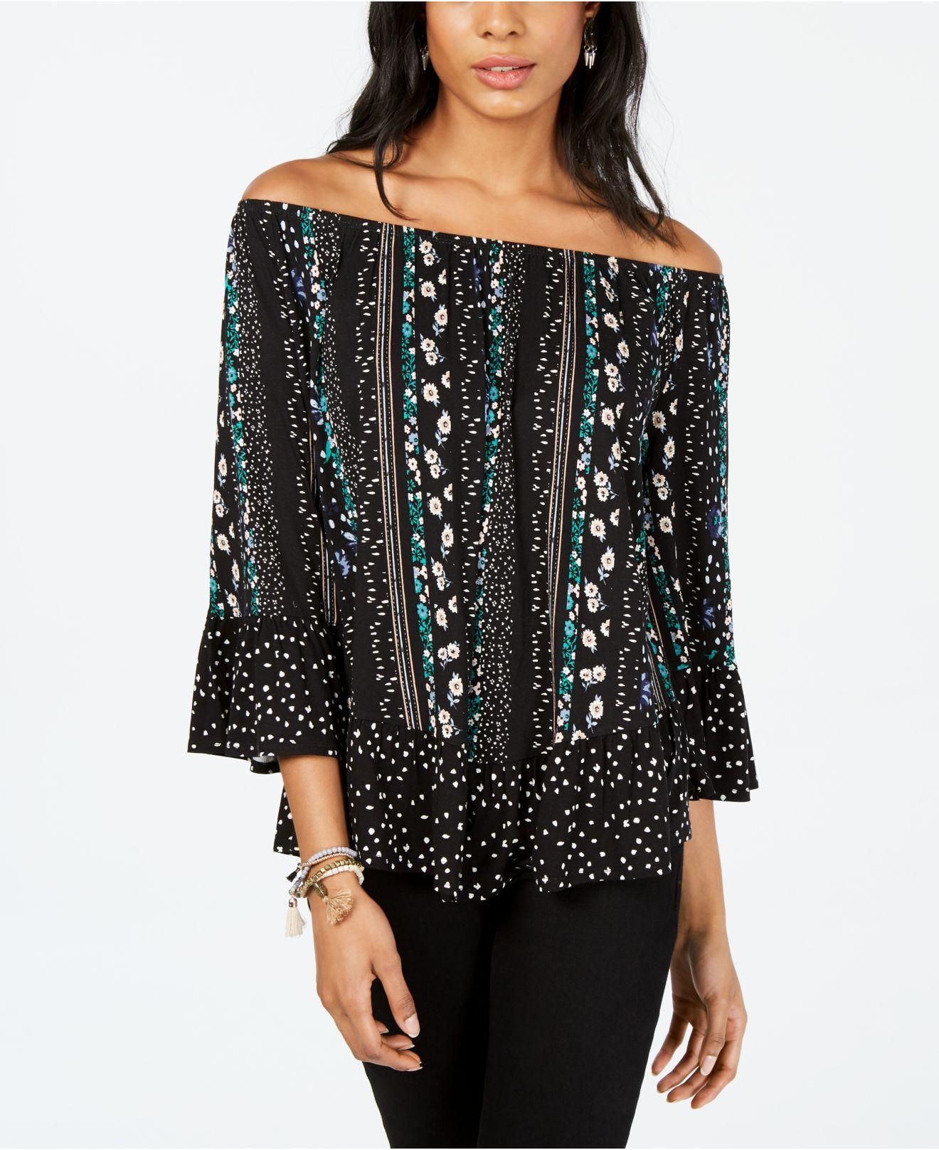 56714681a24 Lyst - Style & Co. Printed Off-the-shoulder Top, Created For Macy's ...