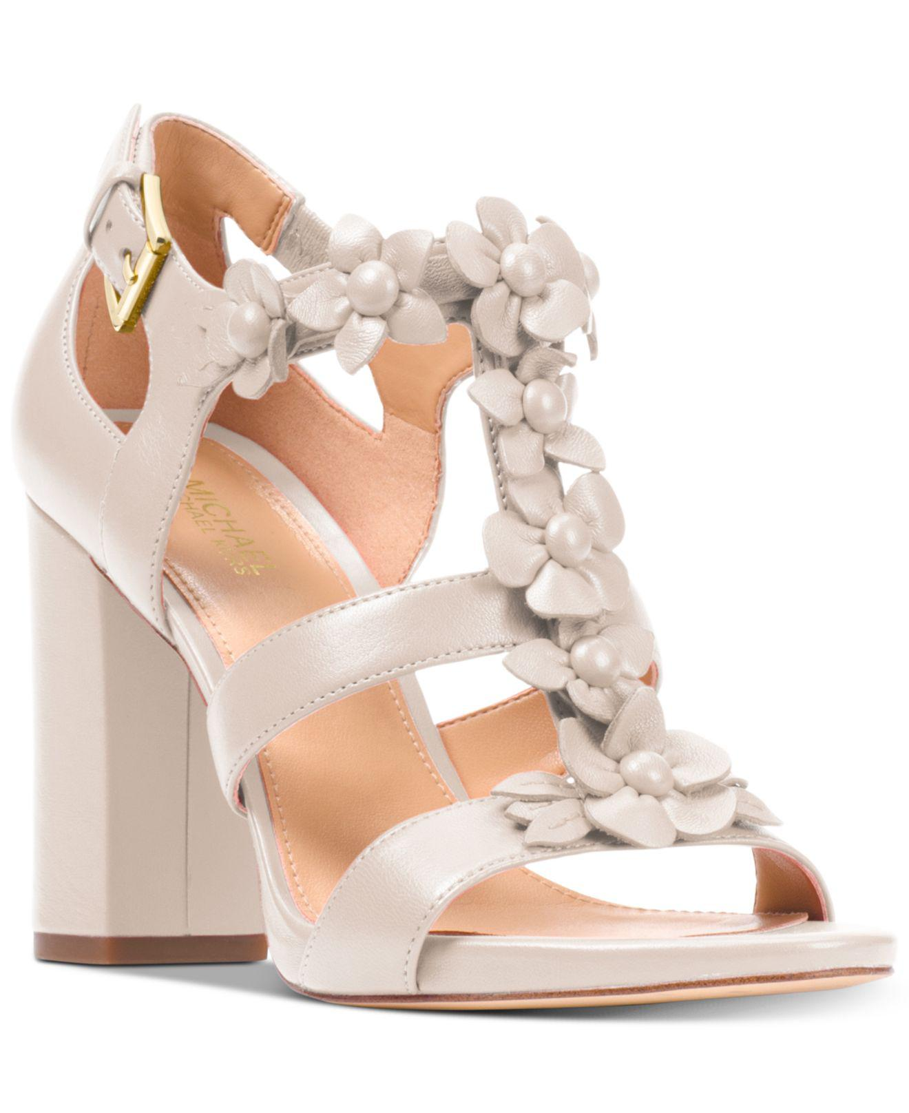 Tricia Flower Embellished T-Strap Block Heel Dress Sandals
