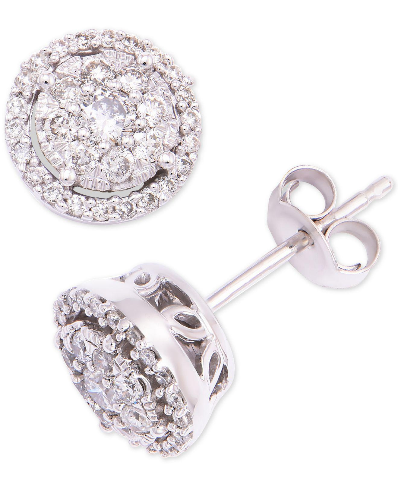 ca9cdd71f0f1 Macy s. Women s Diamond Round Cluster Halo Stud Earrings (1 2 Ct. T.w.) In 14k  White Gold