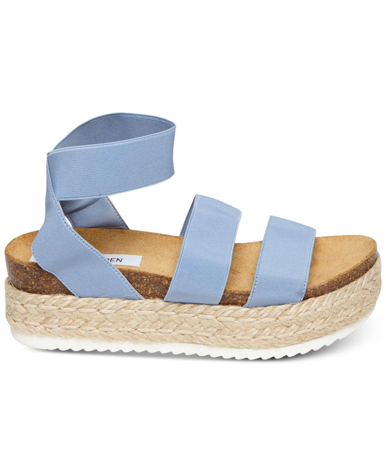 f9d37b06730 Lyst - Steve Madden Kimmie Flatform Espadrille Sandals in Blue