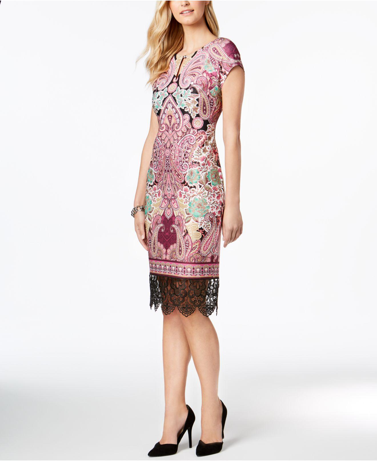 149c6616 Eci Lace-trim Sheath Dress in Pink - Lyst