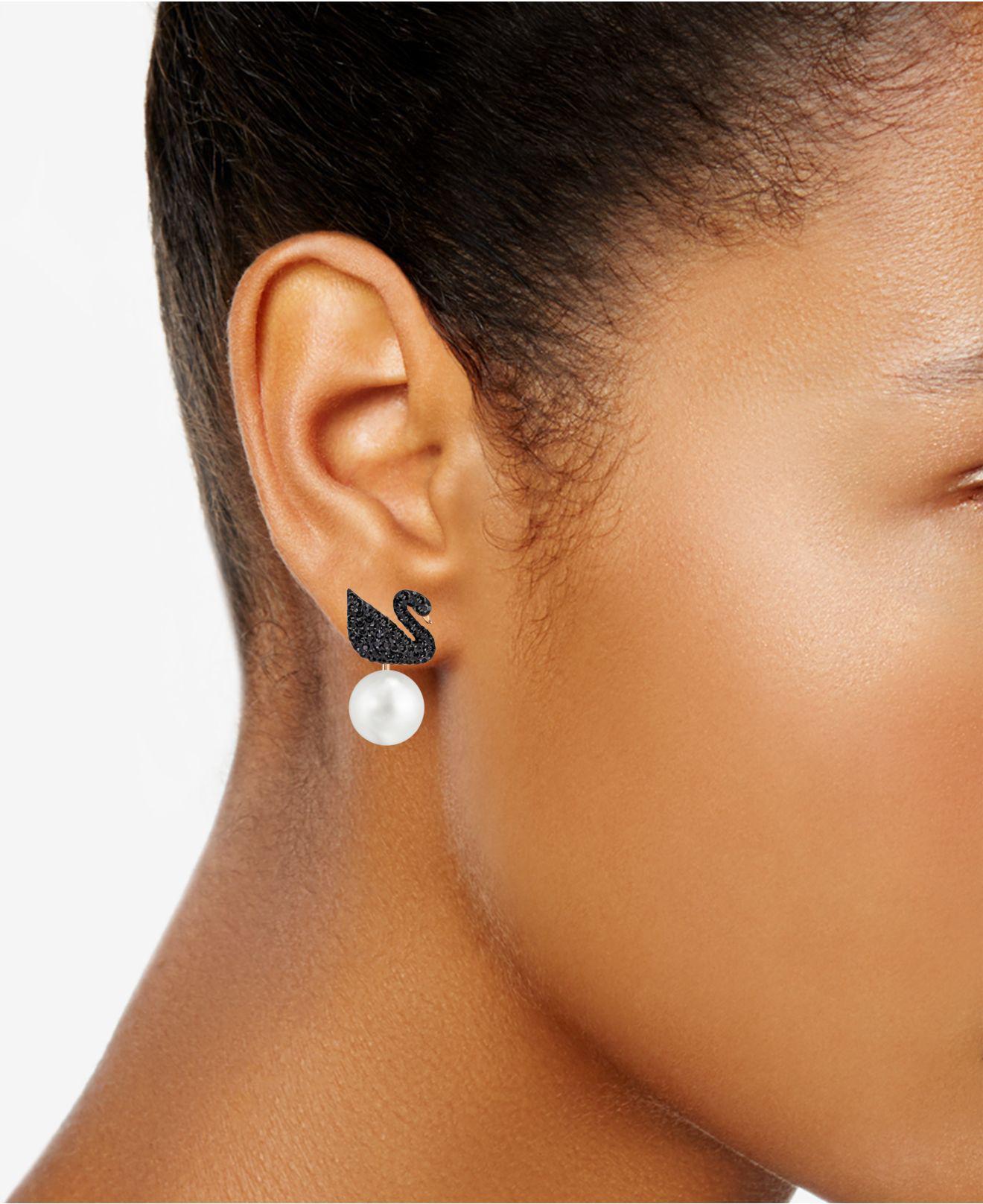 0404be05d Swarovski - Rose Gold-tone Crystal Pavé Black Swan And Imitation Pearl Drop  Earrings -. View fullscreen
