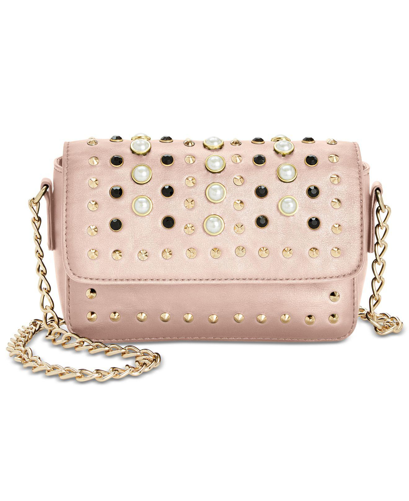fa48dc43e179fc Lyst - Steve Madden Aiden Embellished Flapover Bag in Pink