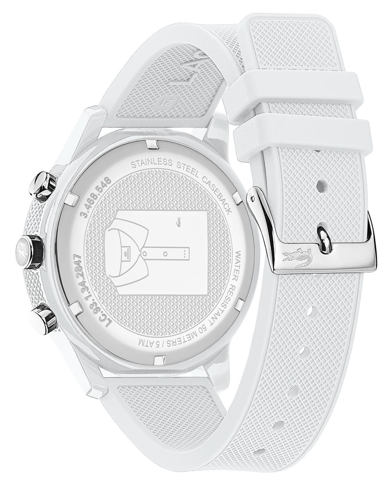 Lacoste - Men's White Chronograph Silicone Strap Watch for Men - Lyst. View fullscreen