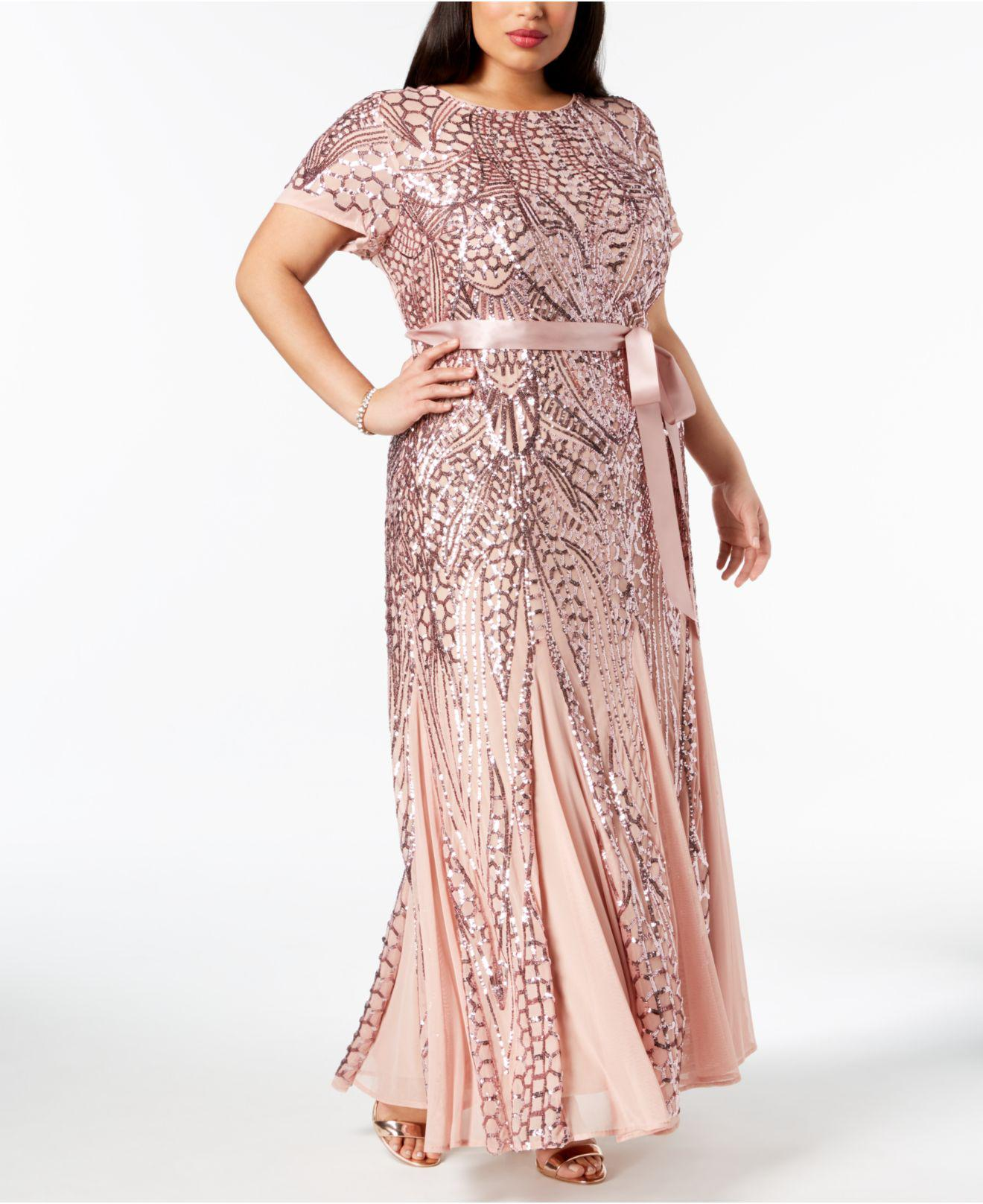fefc5cdf89f Lyst - R   M Richards Plus Size Sequined Godet Gown in Pink