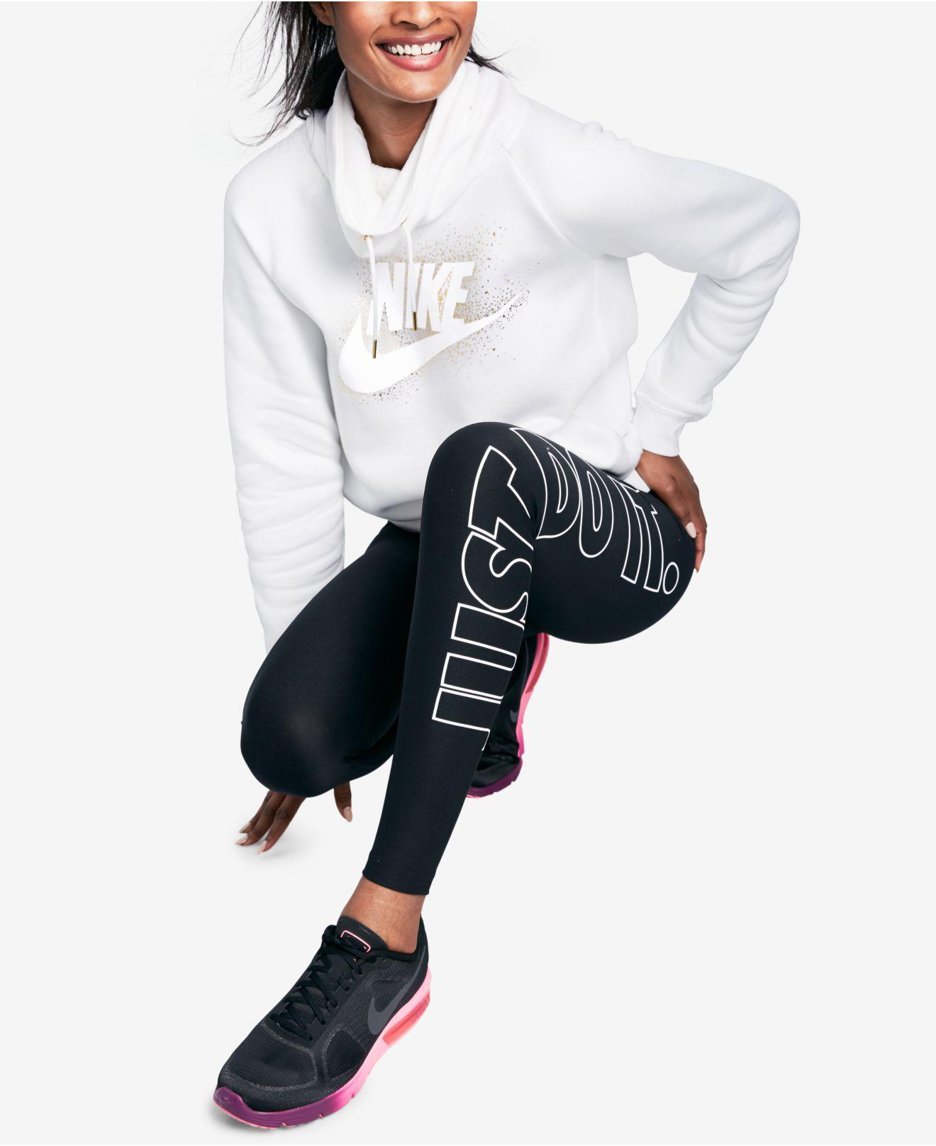 4d3406cced86 ... Lyst - Nike Sportswear Rally Funnel-neck Metallic-logo Hoodie in White  ...
