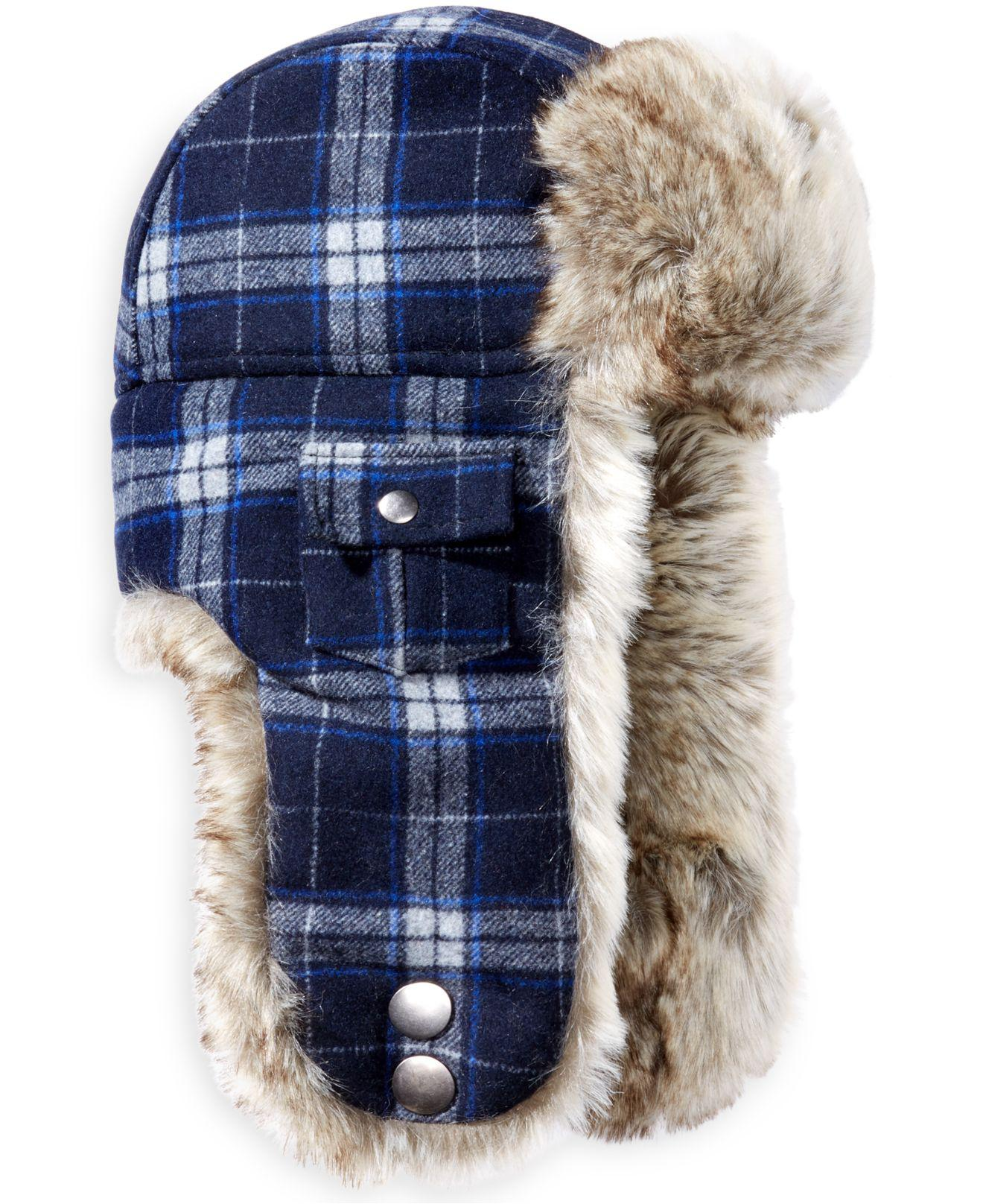 b35a1f4e0329c Woolrich Plaid Arctic Trapper Hat With Faux-fur Earflaps in Blue for ...