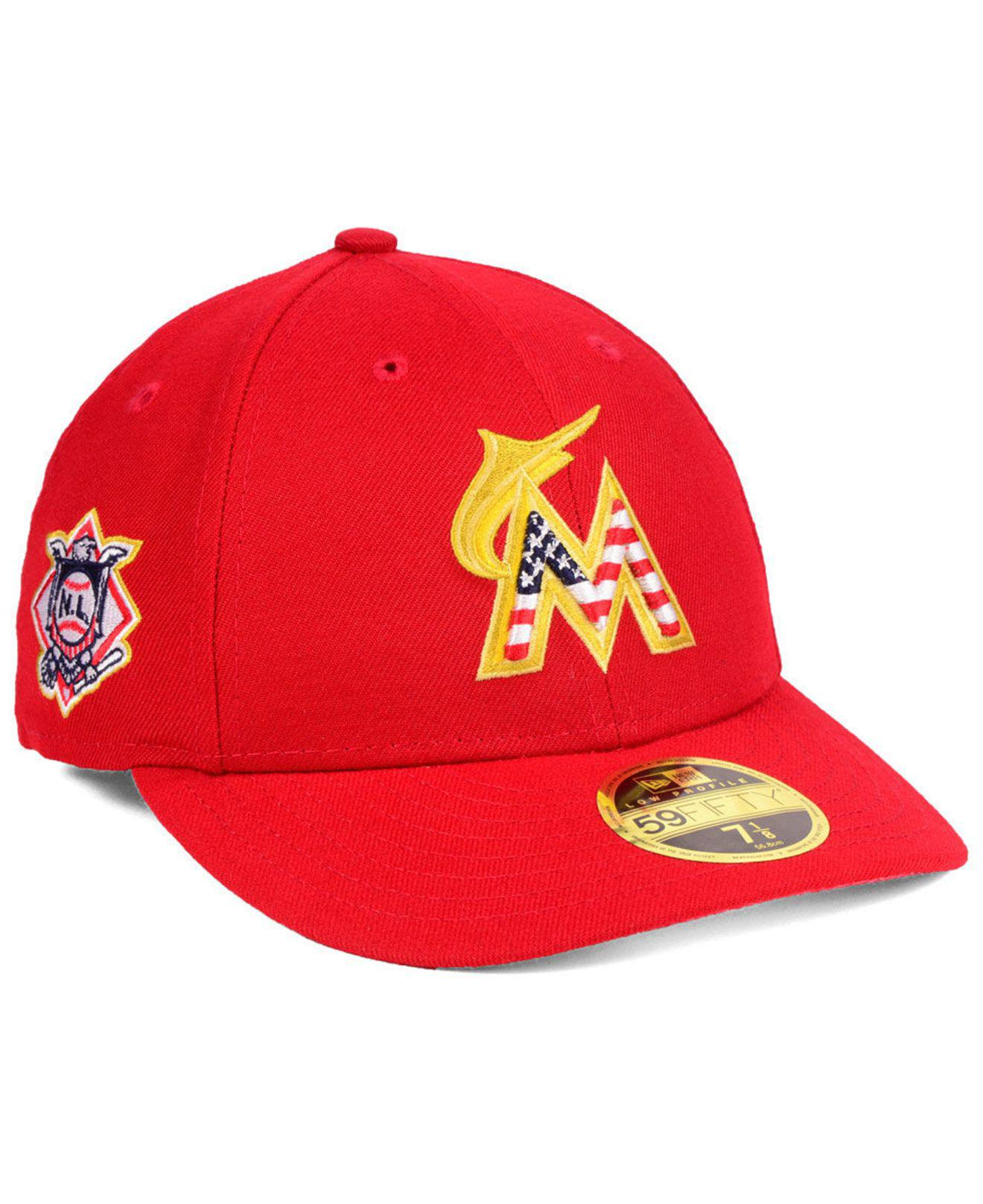 best website 07bdb f283f KTZ. Men s Red Miami Marlins Stars And Stripes Low Profile 59fifty Fitted  Cap 2018