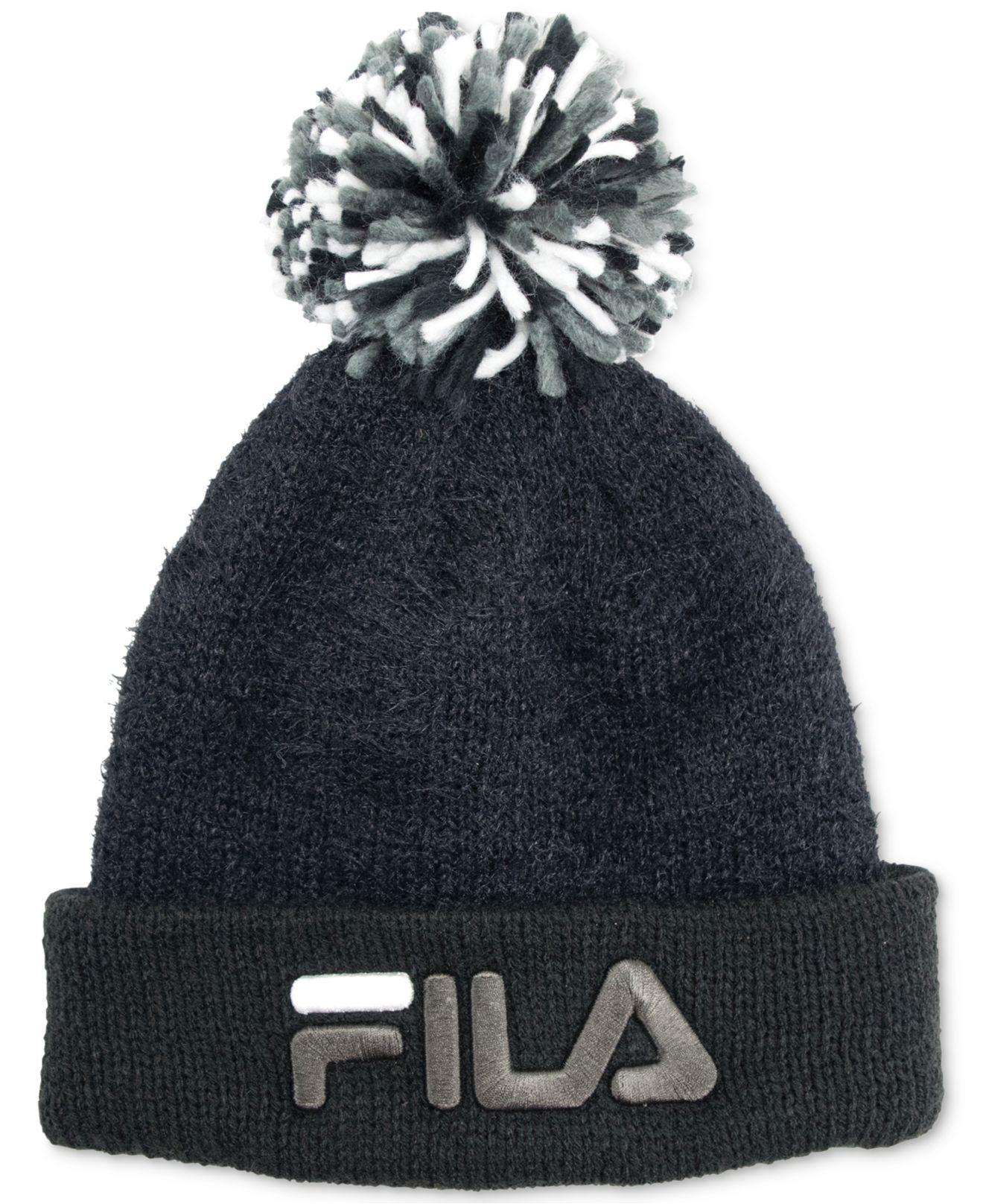 Lyst - Fila Knit Pom Pom Hat in Black for Men 3f8a29042a2b