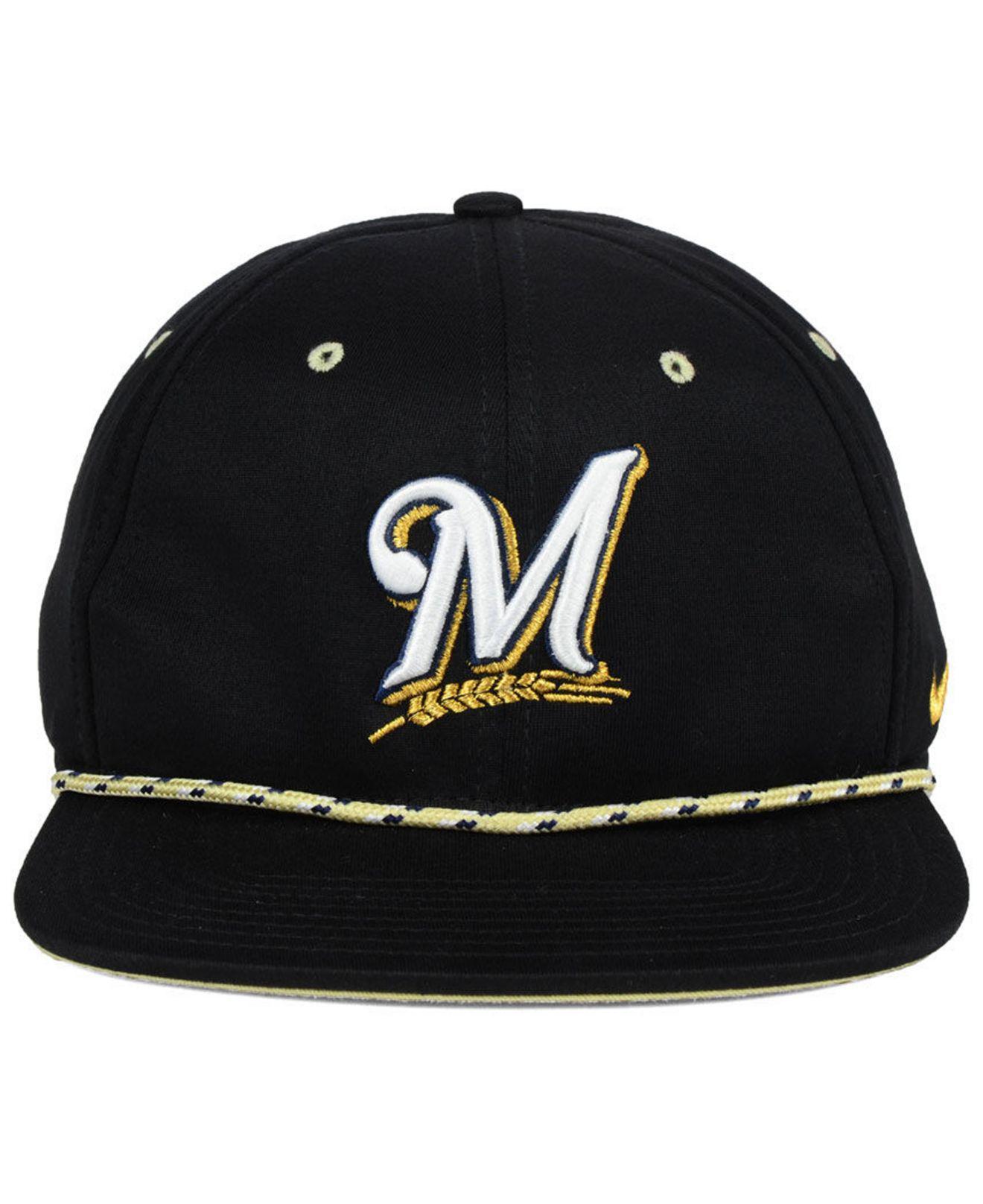 1fa50903 ... true snapback adjustable hat white f0975 5c288; sweden lyst nike  milwaukee brewers string bill snapback cap in black for men e35b8 c0310