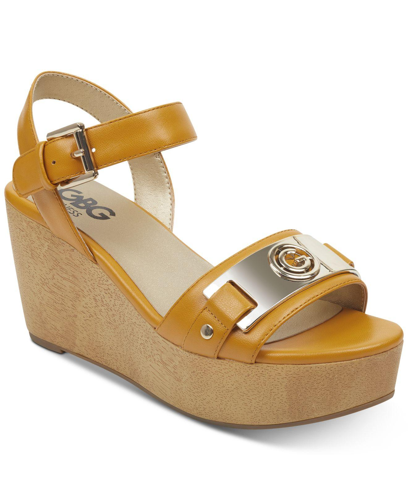 8d83e14a33 G by Guess Danna Platform Wedge Sandals in Yellow - Save 3% - Lyst