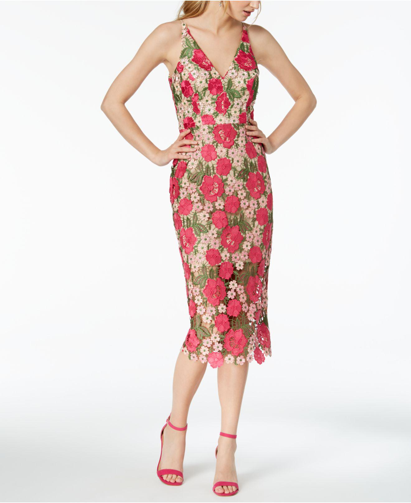 72cd4865522 Xscape Floral-pattern Lace Midi Dress in Red - Lyst