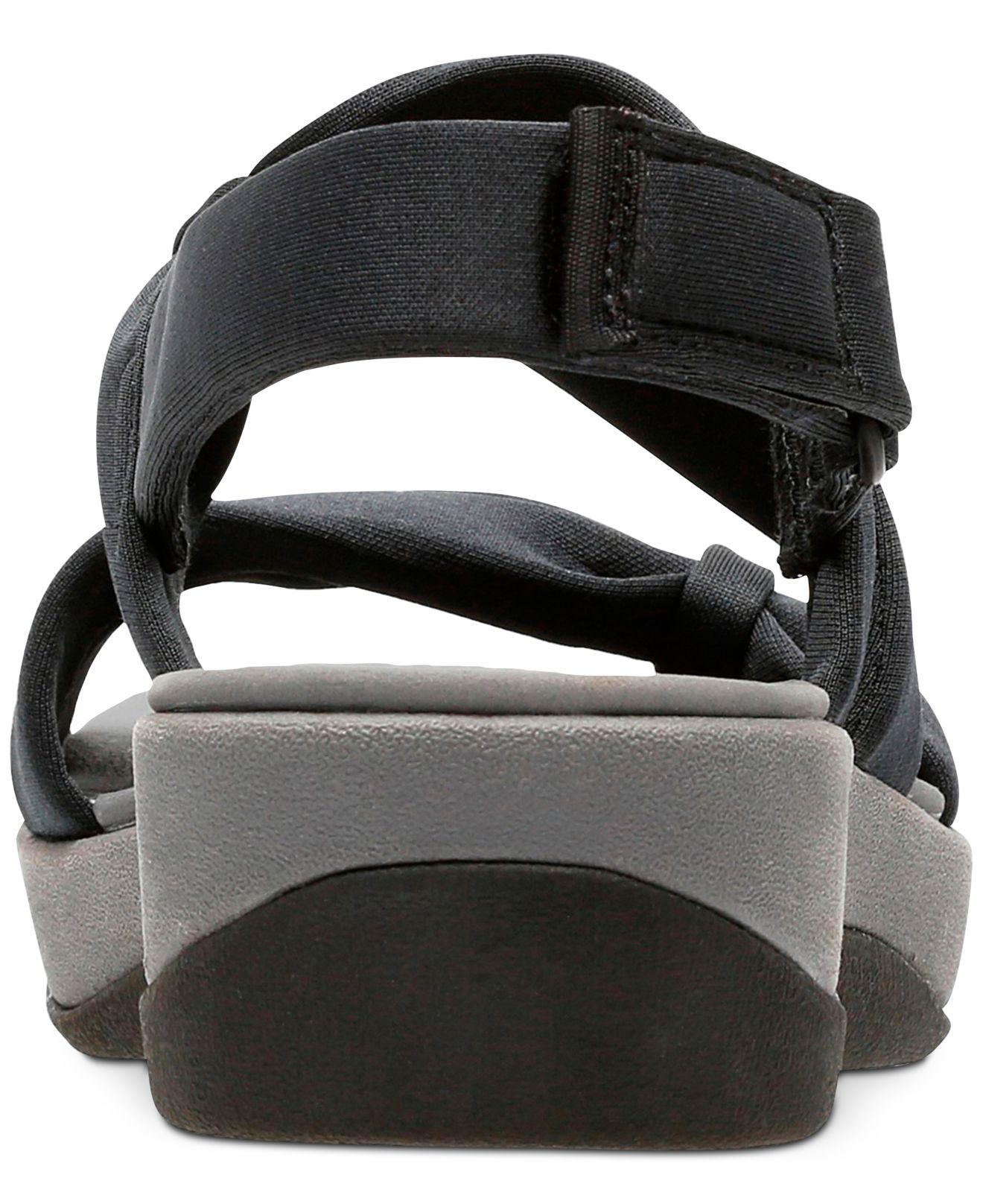 f148f18ecc99 Clarks - Black Cloudsteppers Arla Mae Wedge Sandals - Lyst. View fullscreen