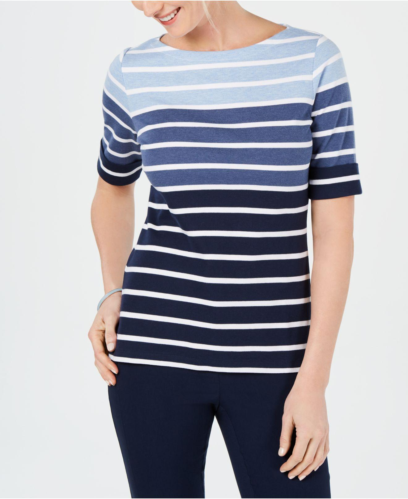41602d4614d7 Lyst - Karen Scott Petite Calla Stripe T-shirt, Created For Macy's ...