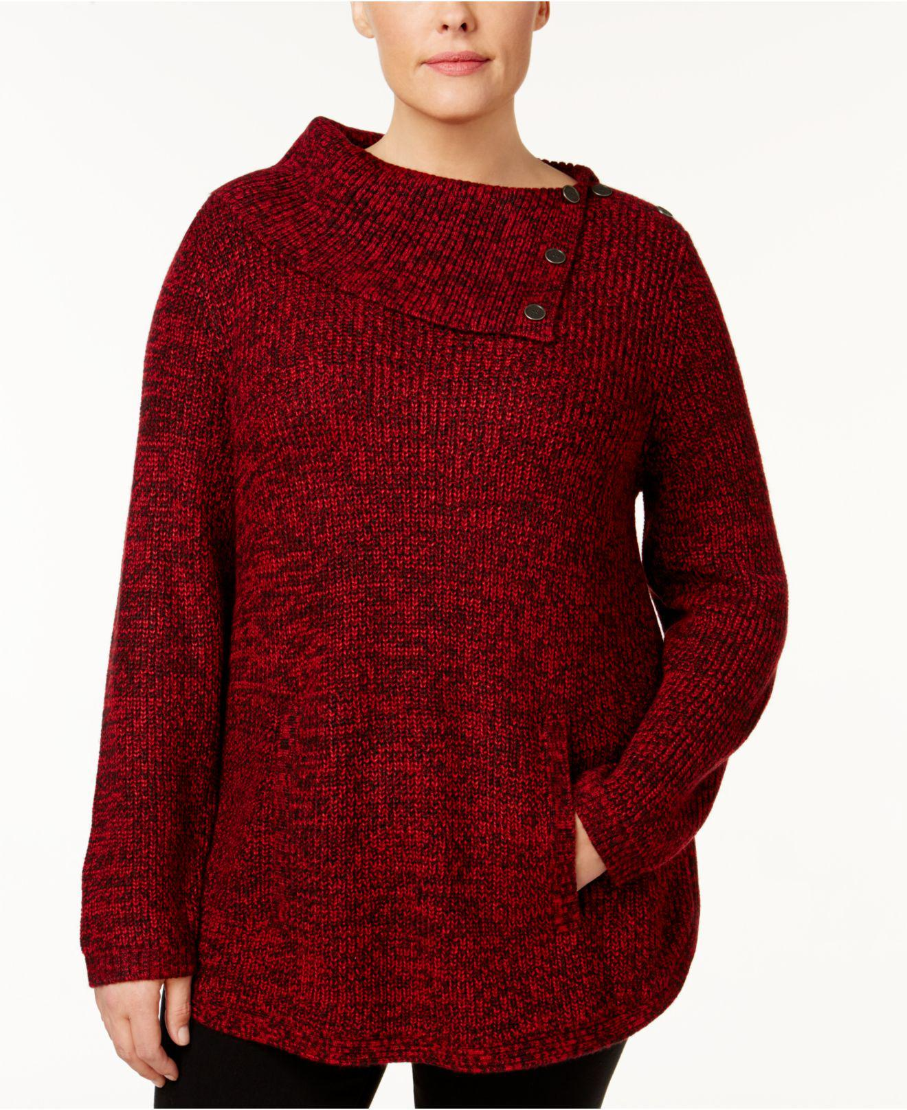 Style & co. Plus Size Envelope-collar Marled Sweater in Red | Lyst