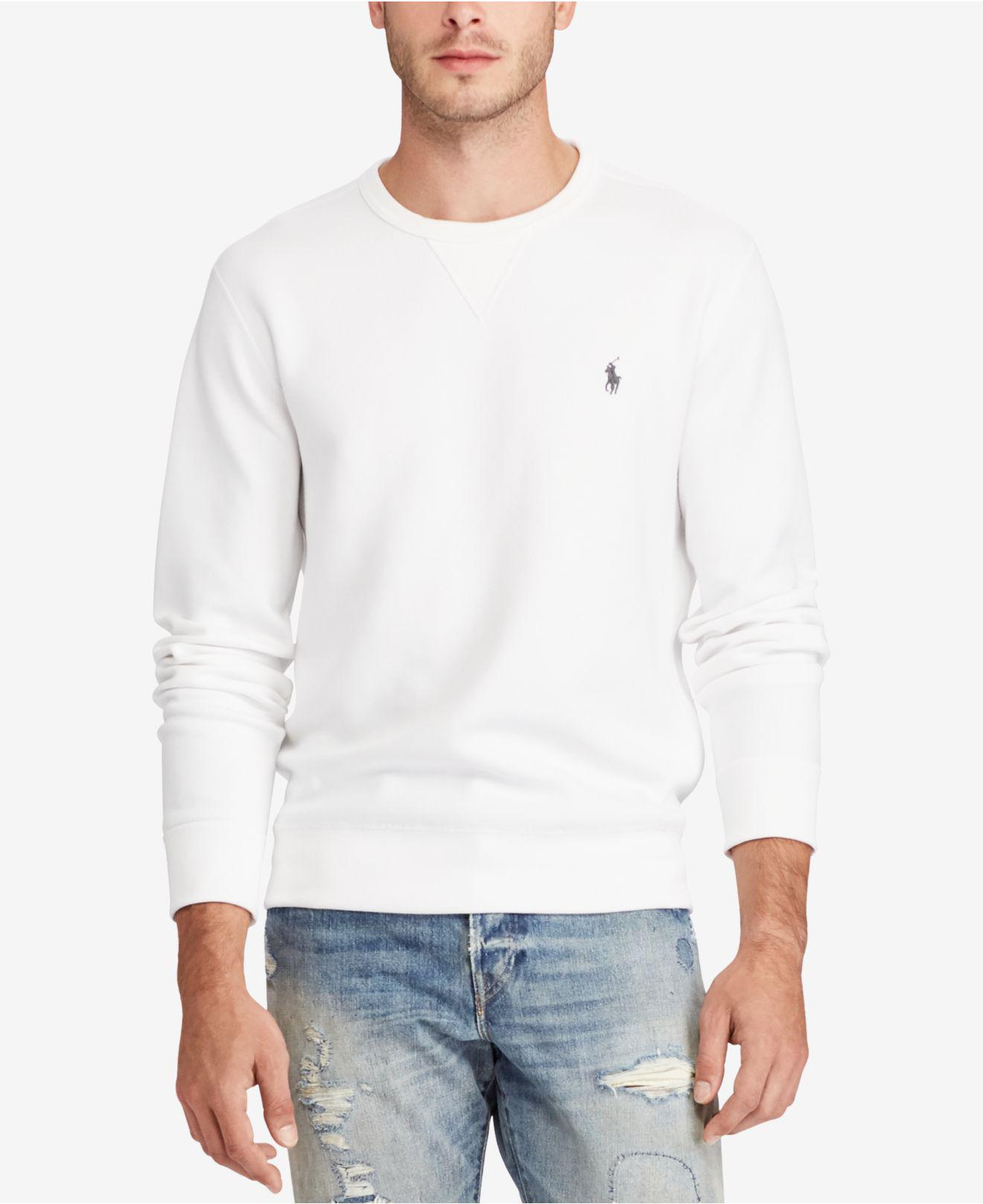 d1b77a4df5a5 Lyst - Polo Ralph Lauren Men s Double-knit Sweatshirt in White for ...
