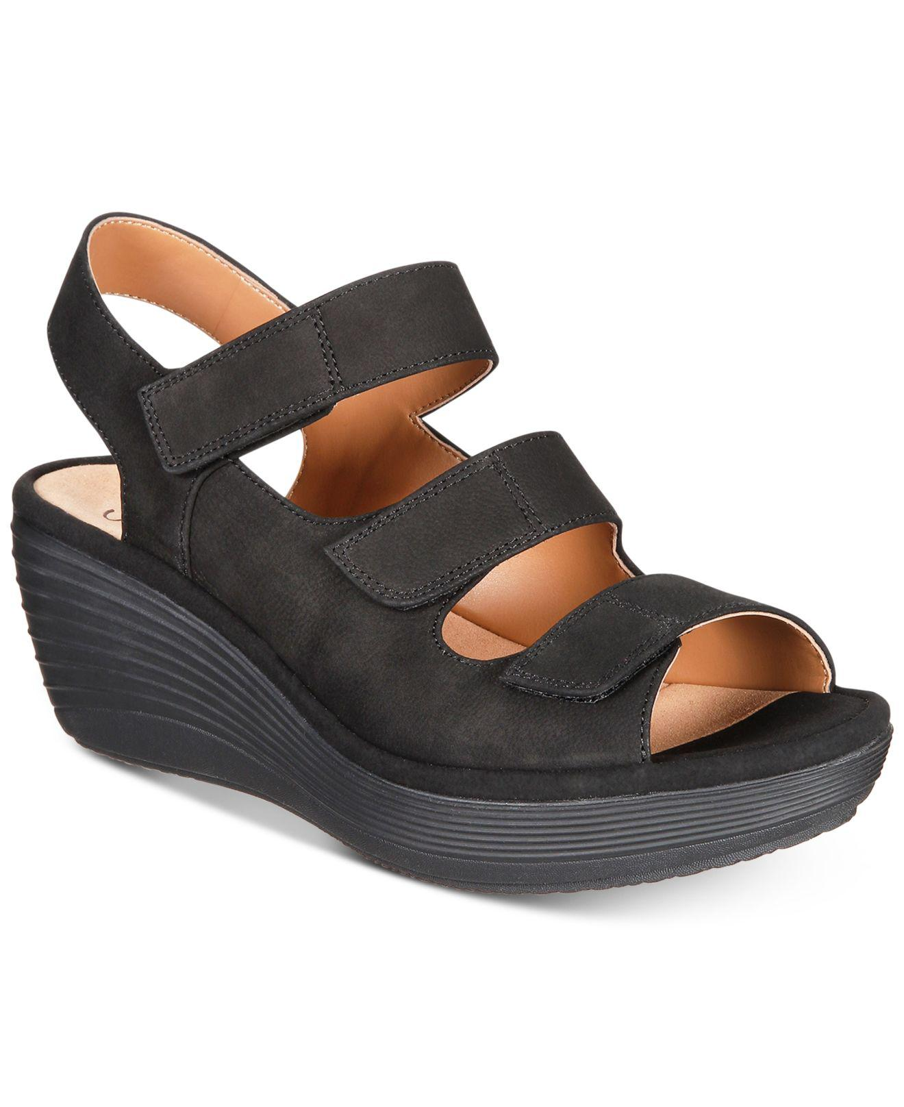2cc4e3e864e Lyst - Clarks Women s Reedly Juno Wedge Sandals in Black