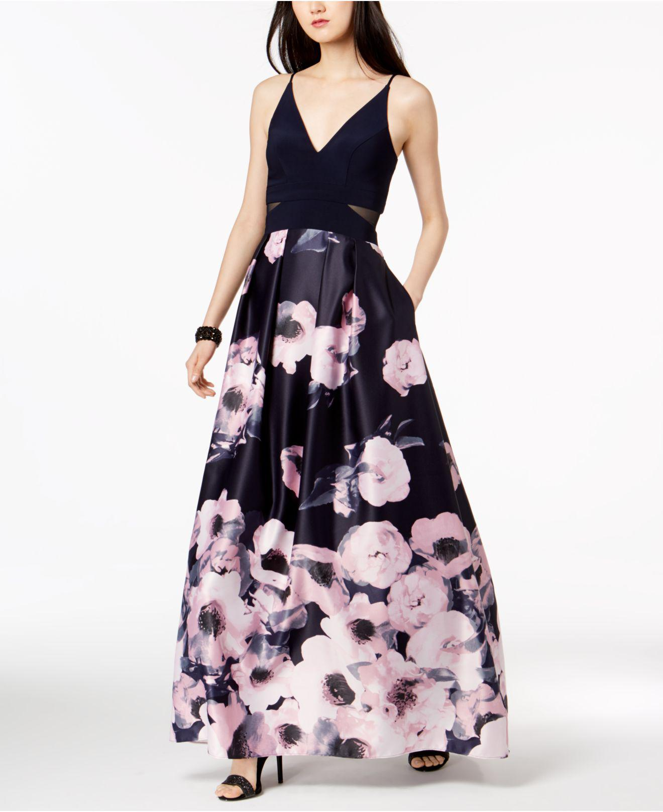 c748e142f34 Xscape Illusion-inset Solid   Floral-print Gown in Blue - Lyst