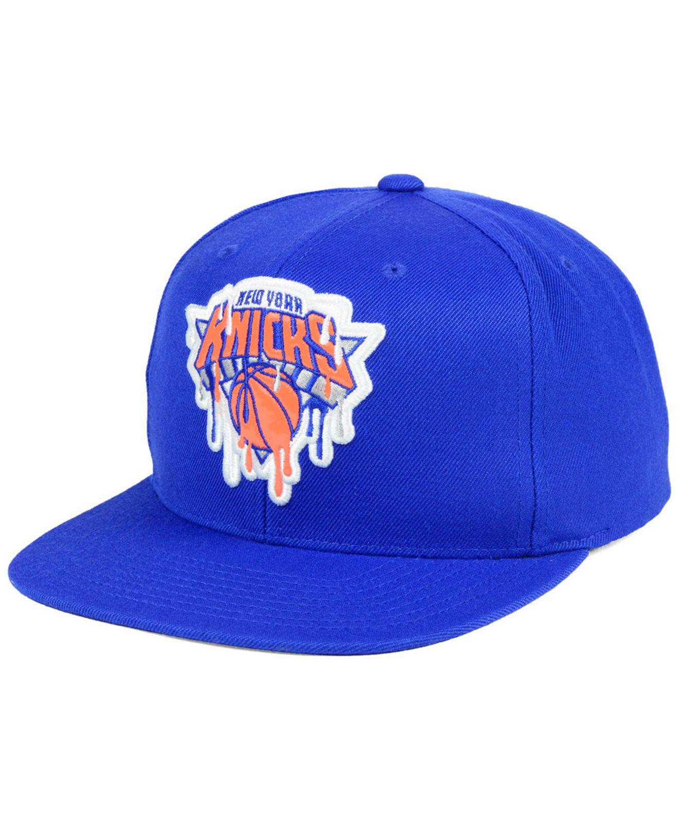 b7219357774 ... reduced lyst mitchell ness new york knicks dripped snapback cap in blue  57c81 70b27