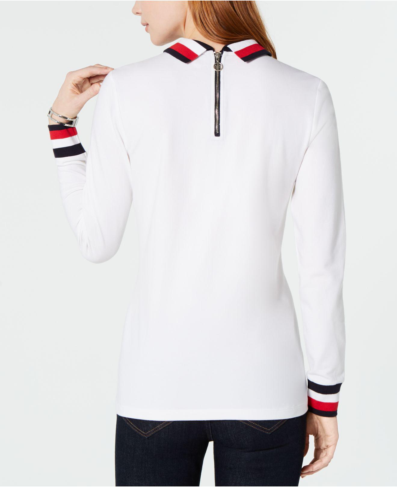 a95c3761 Lyst - Tommy Hilfiger Flag Long-sleeve Polo Top, Created For Macy's in White