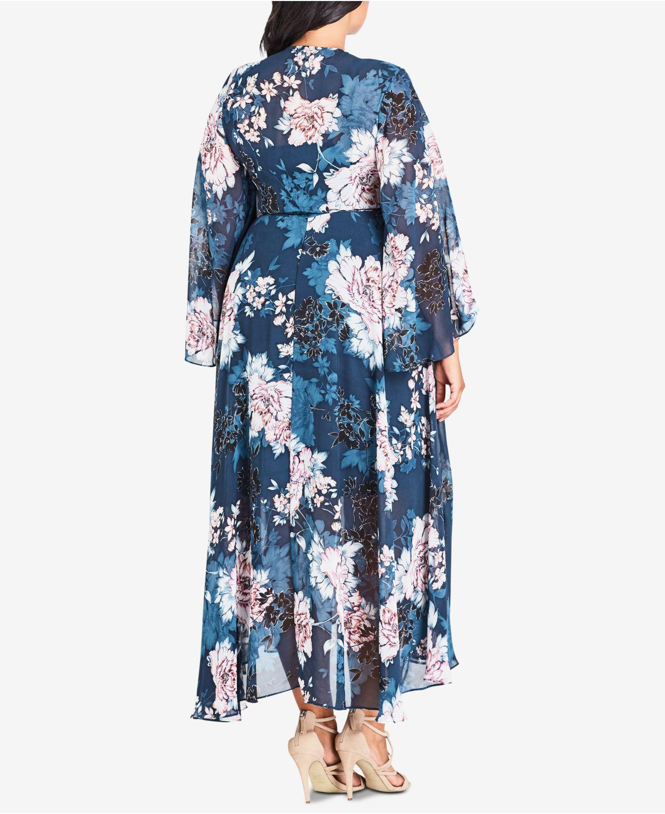 80b09baa69 Lyst - City Chic Plus Size Jade Blossom High-low Dress in Blue