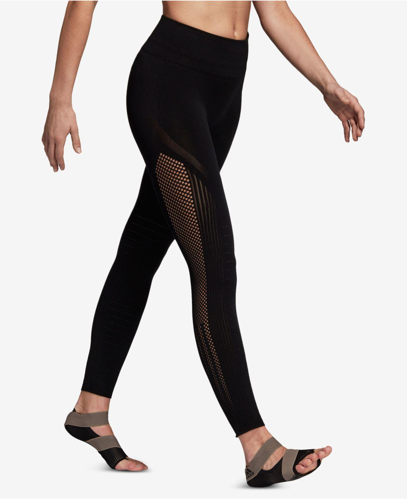 ed2ba0e3567d93 adidas High-rise Seamless Warp-knit Ankle Leggings in Black - Lyst