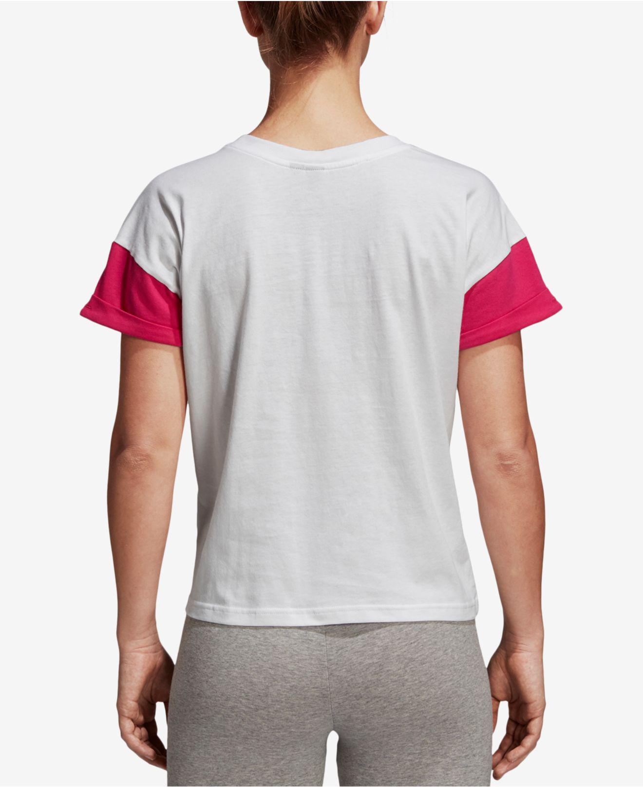 d8c43abd Lyst - adidas Cotton Colorblocked Logo Cropped T-shirt in White