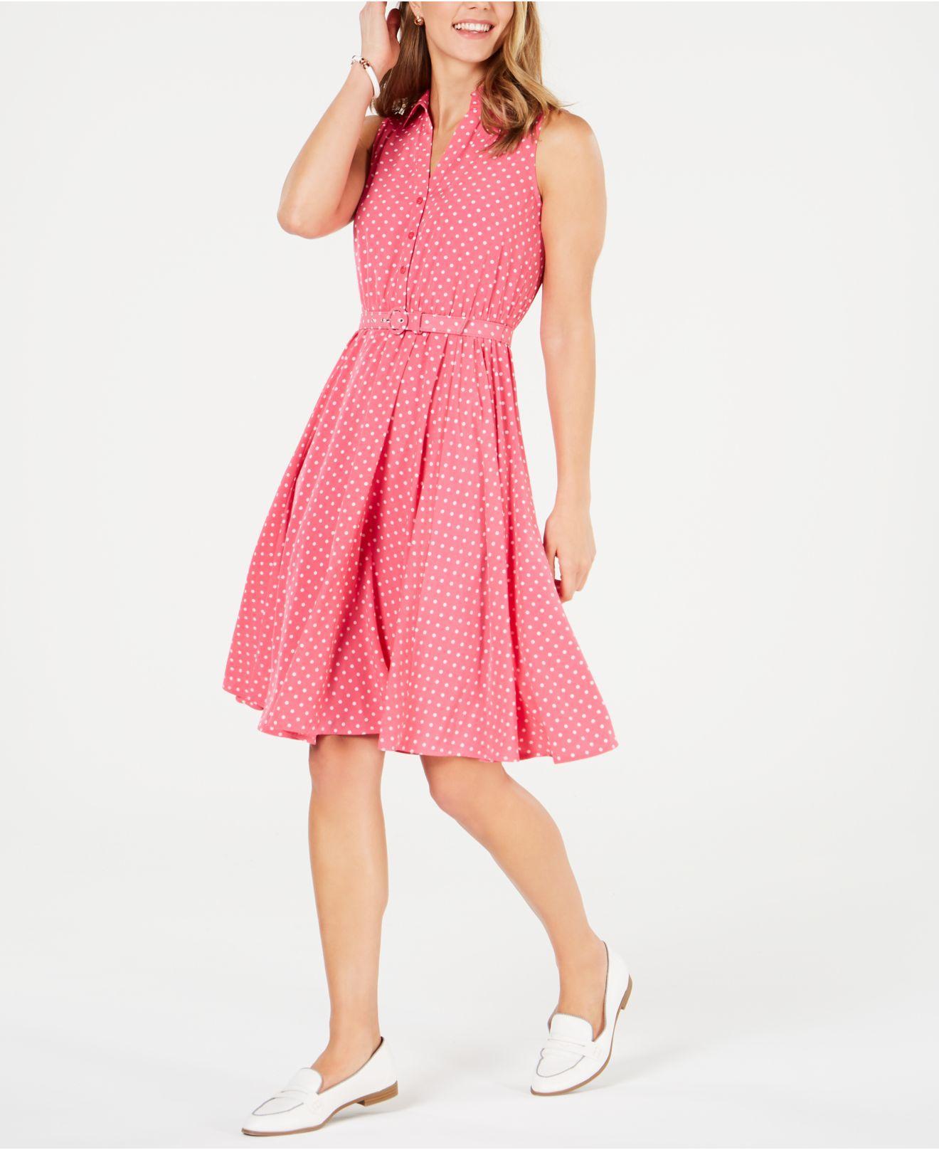 b2ce700bc6 Lyst - Charter Club Petite Belted Polka-dot Dress