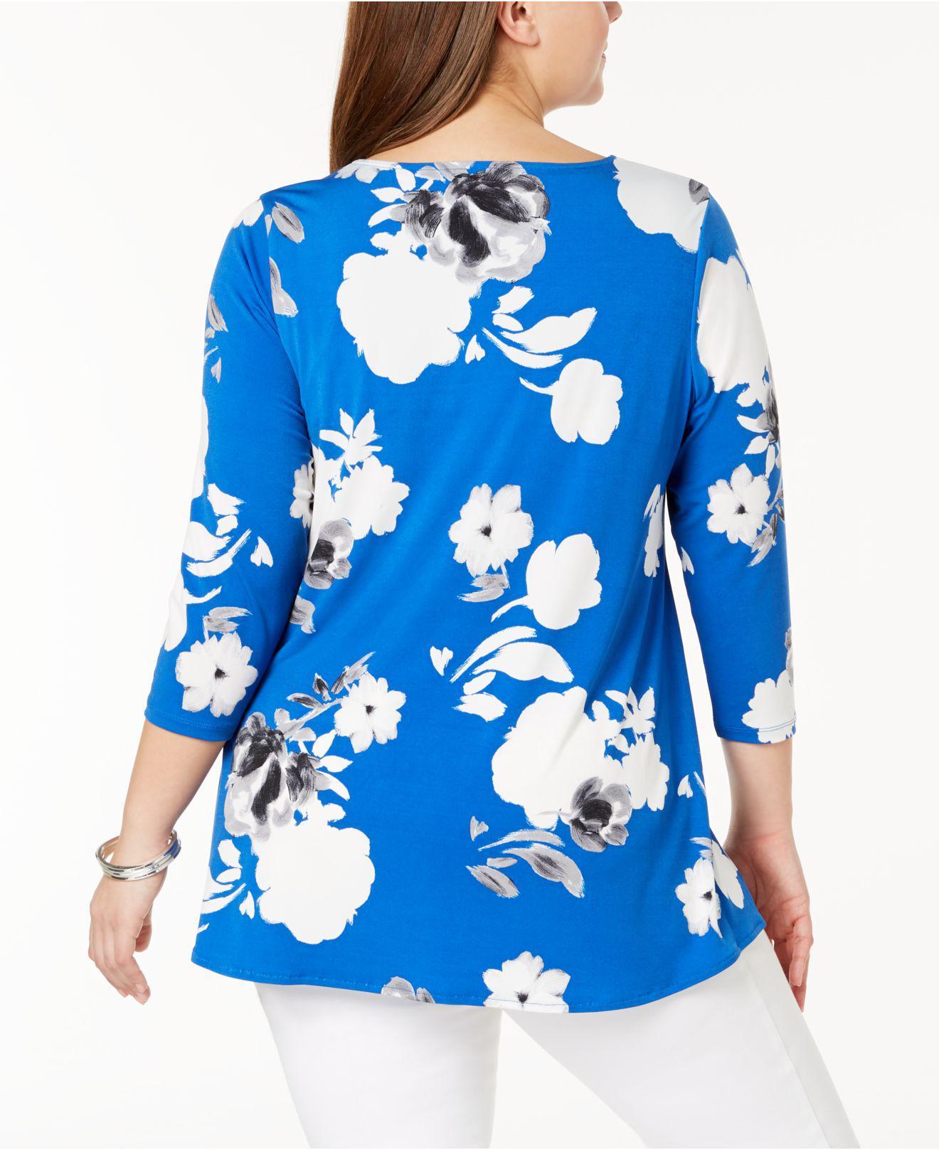 06a3ec9f258 Lyst - Alfani Plus Size Floral-print Cutout Tunic