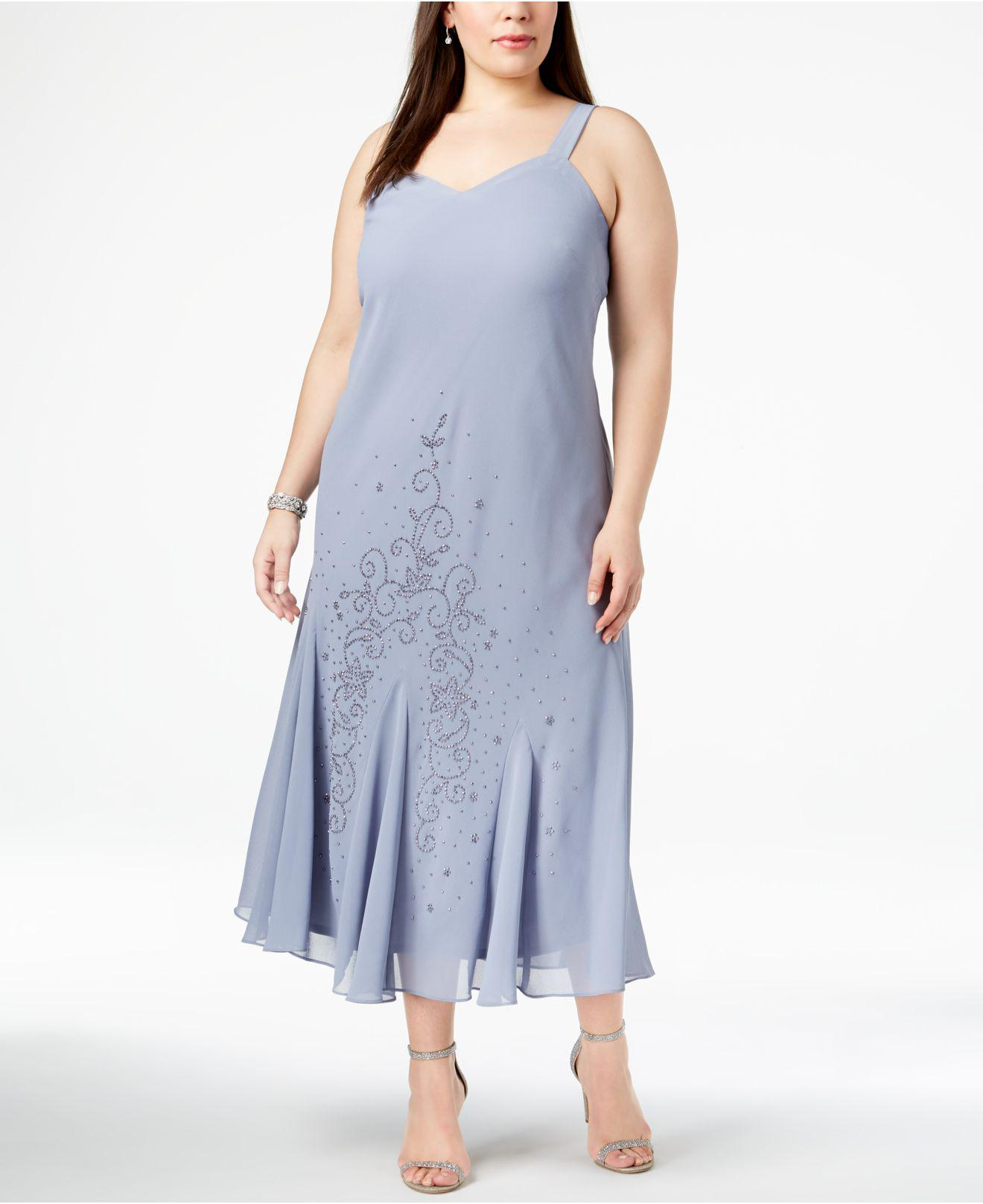 a8decf28fbf1 Lyst - R   M Richards R m Richards Plus Size Beaded V-neck Dress And Jacket  in Blue