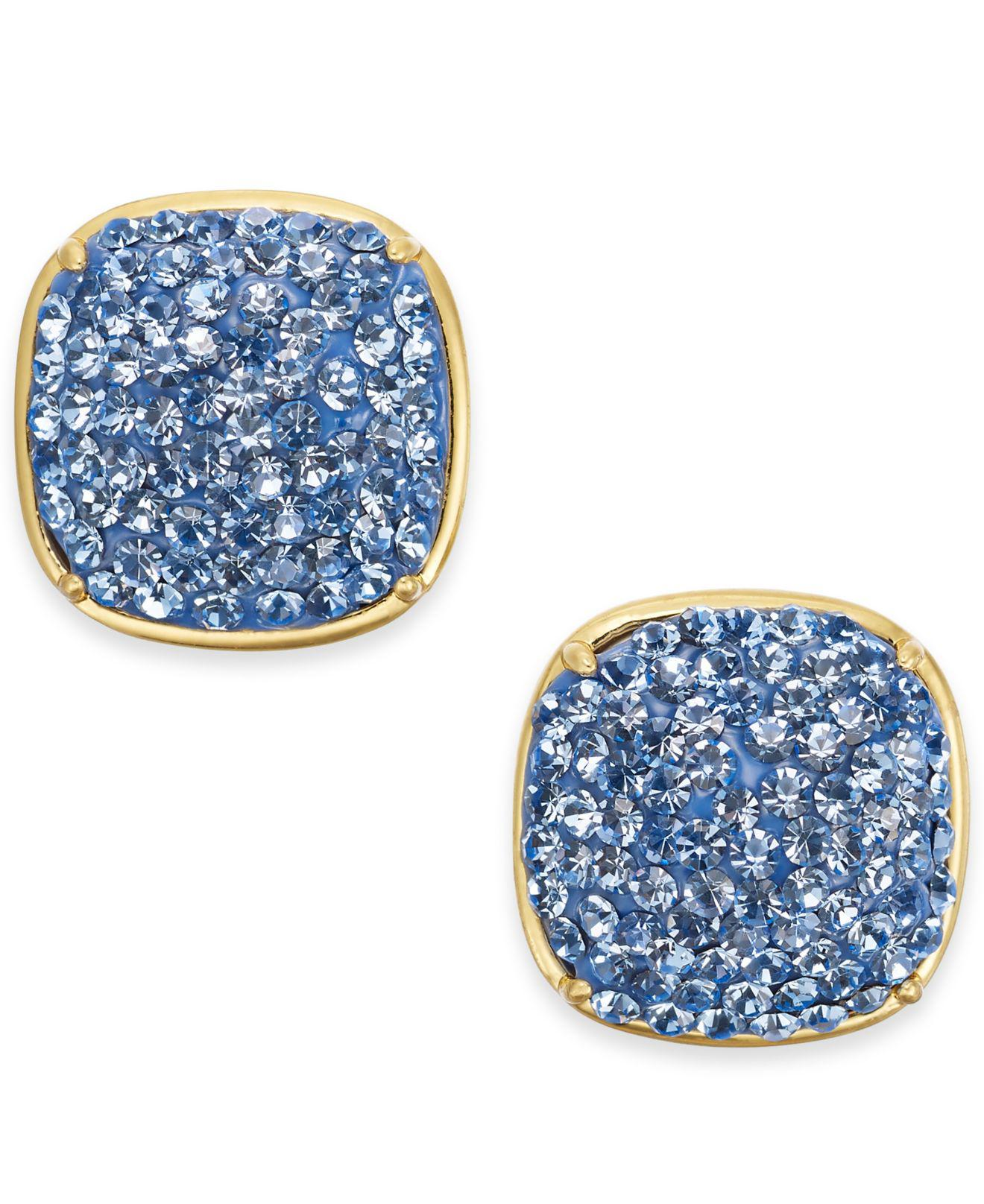 Lyst Kate Spade Gold Tone Pave Square Stud Earrings