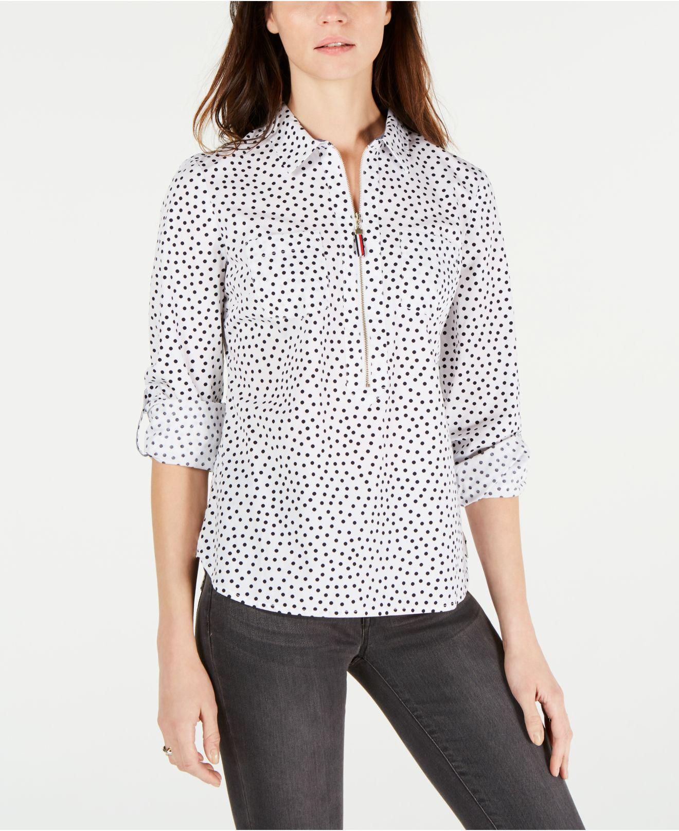 b53c49bac3e Tommy Hilfiger. Women s White Cotton Printed Popover Shirt ...