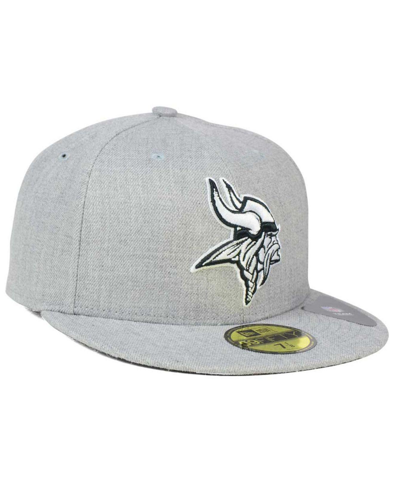 super popular 631e2 6e0fb KTZ - Gray Minnesota Vikings Heather Black White 59fifty Cap for Men -  Lyst. View fullscreen