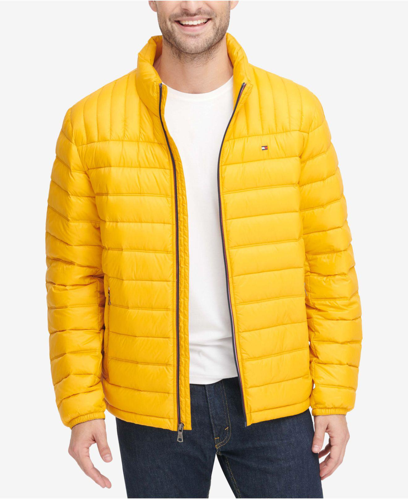 Lyst Tommy Hilfiger Down Quilted Packable Logo Jacket In Yellow