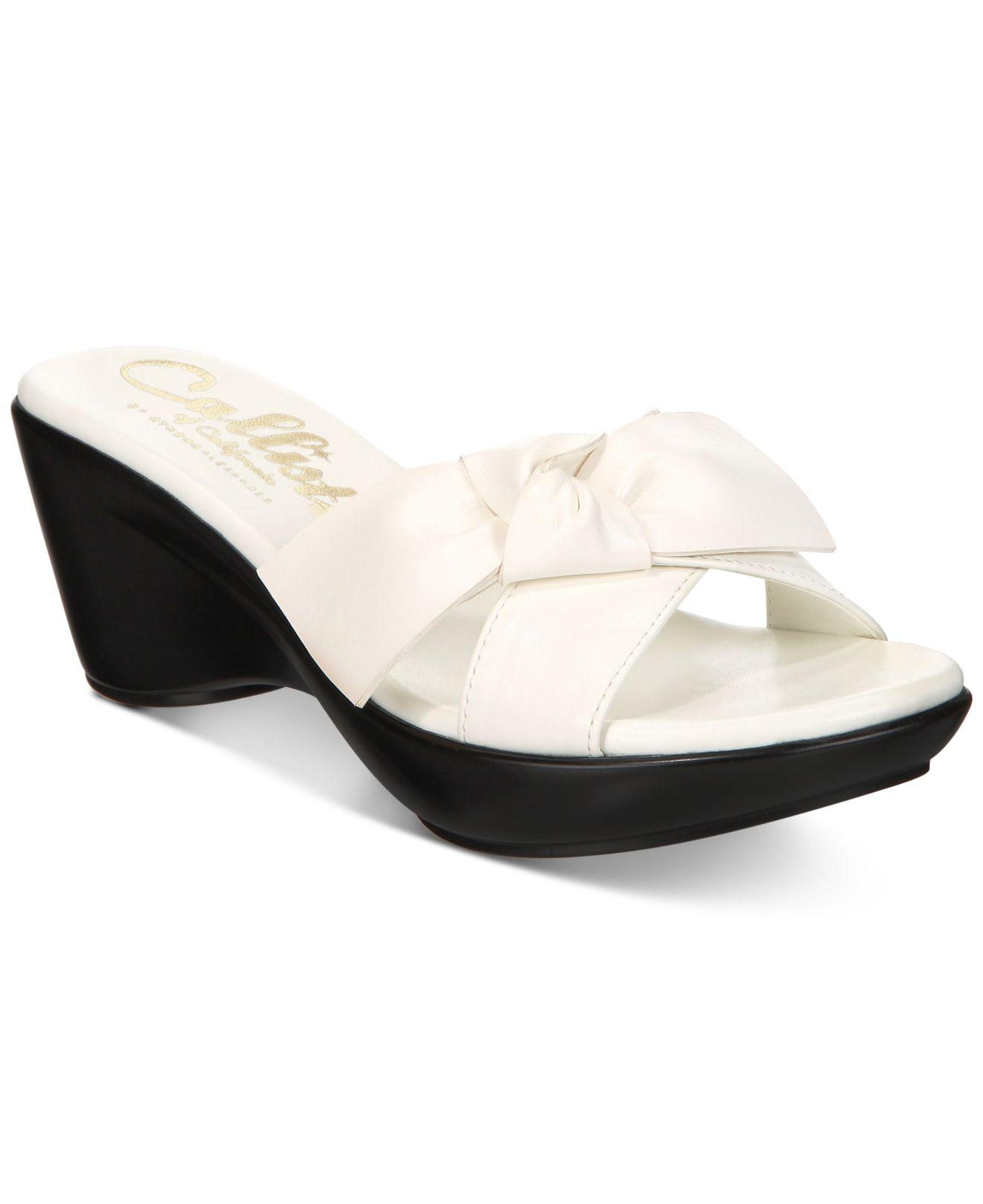 091c59fb7af6 Callisto. Women s White Catriona Wedge Sandals ...