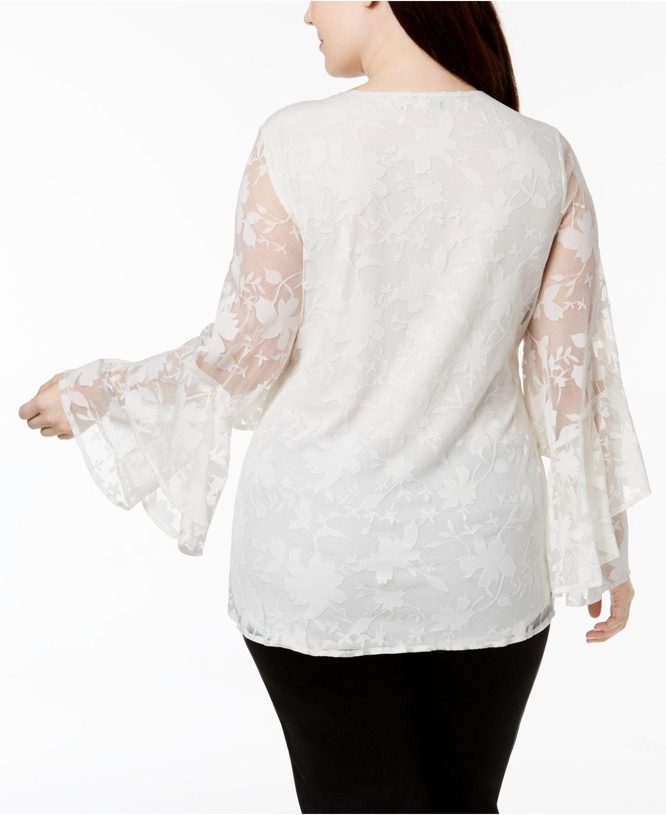 6cf9108ca6f70 Lyst - Alfani Plus Size Tiered Bell-sleeve Lace Top in White