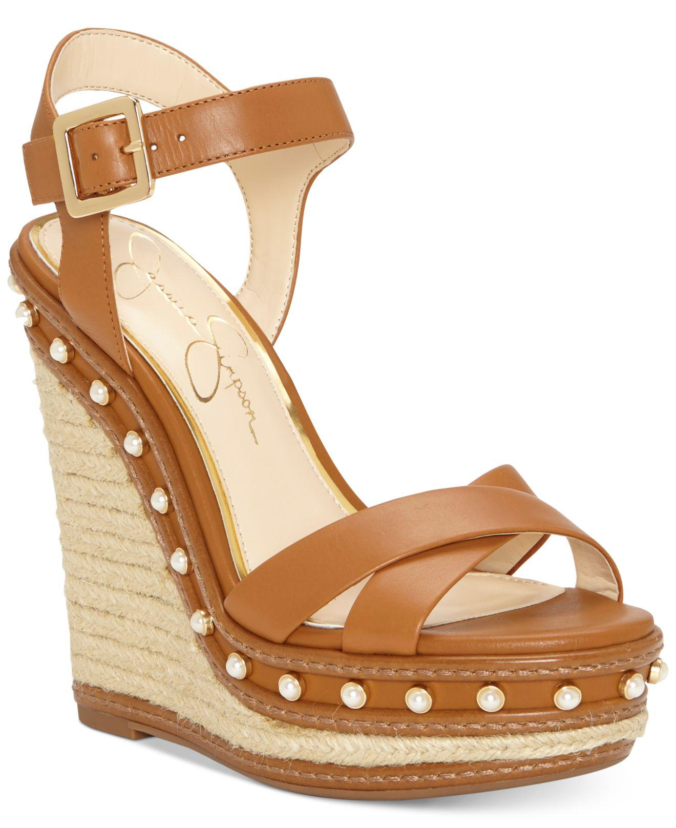 dd8d7f1dd400 Lyst - Jessica Simpson Aeralin Wedge Sandals in Brown