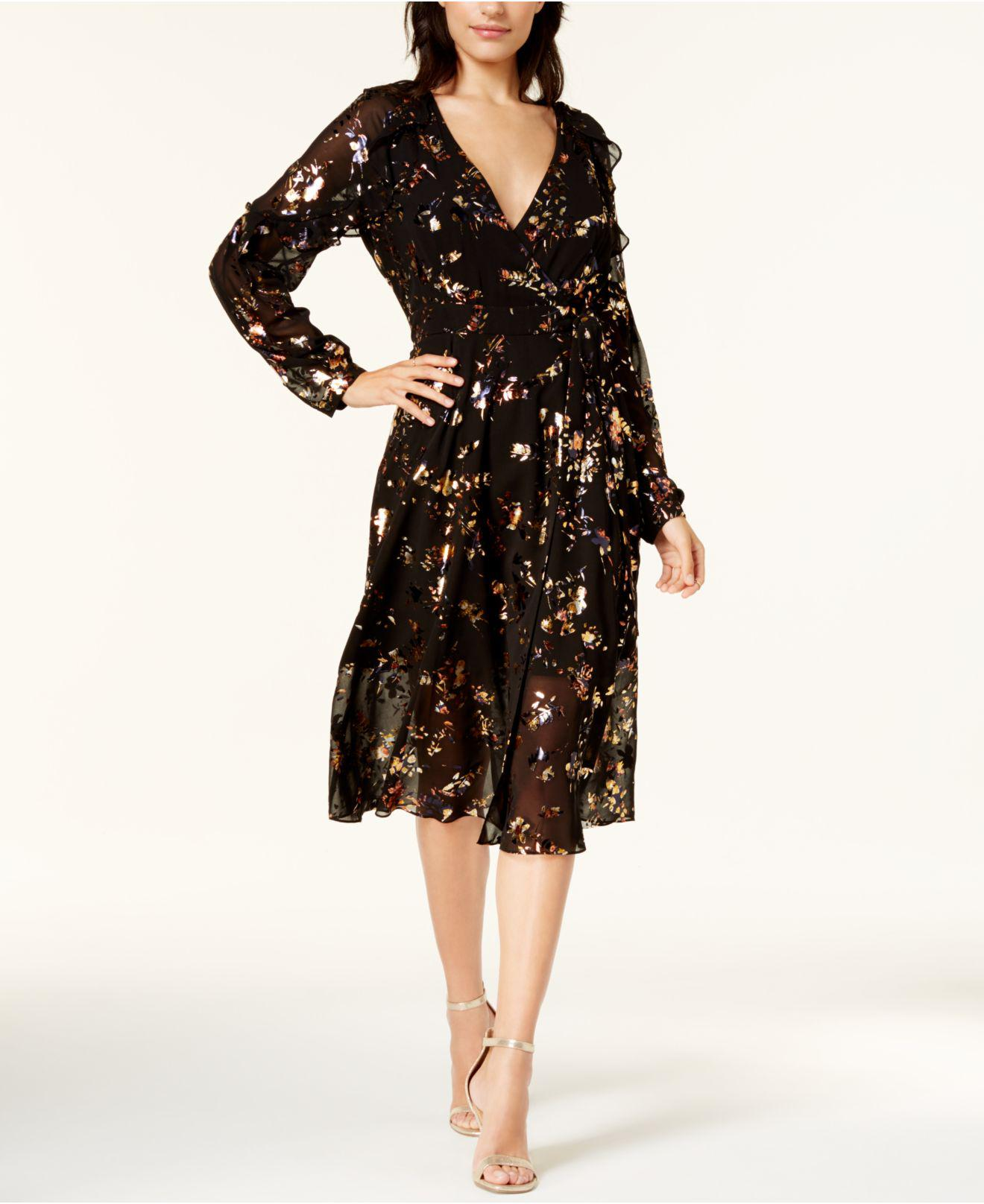285dd736ace2 Lyst - RACHEL Rachel Roy Printed Mesh Wrap Dress in Black